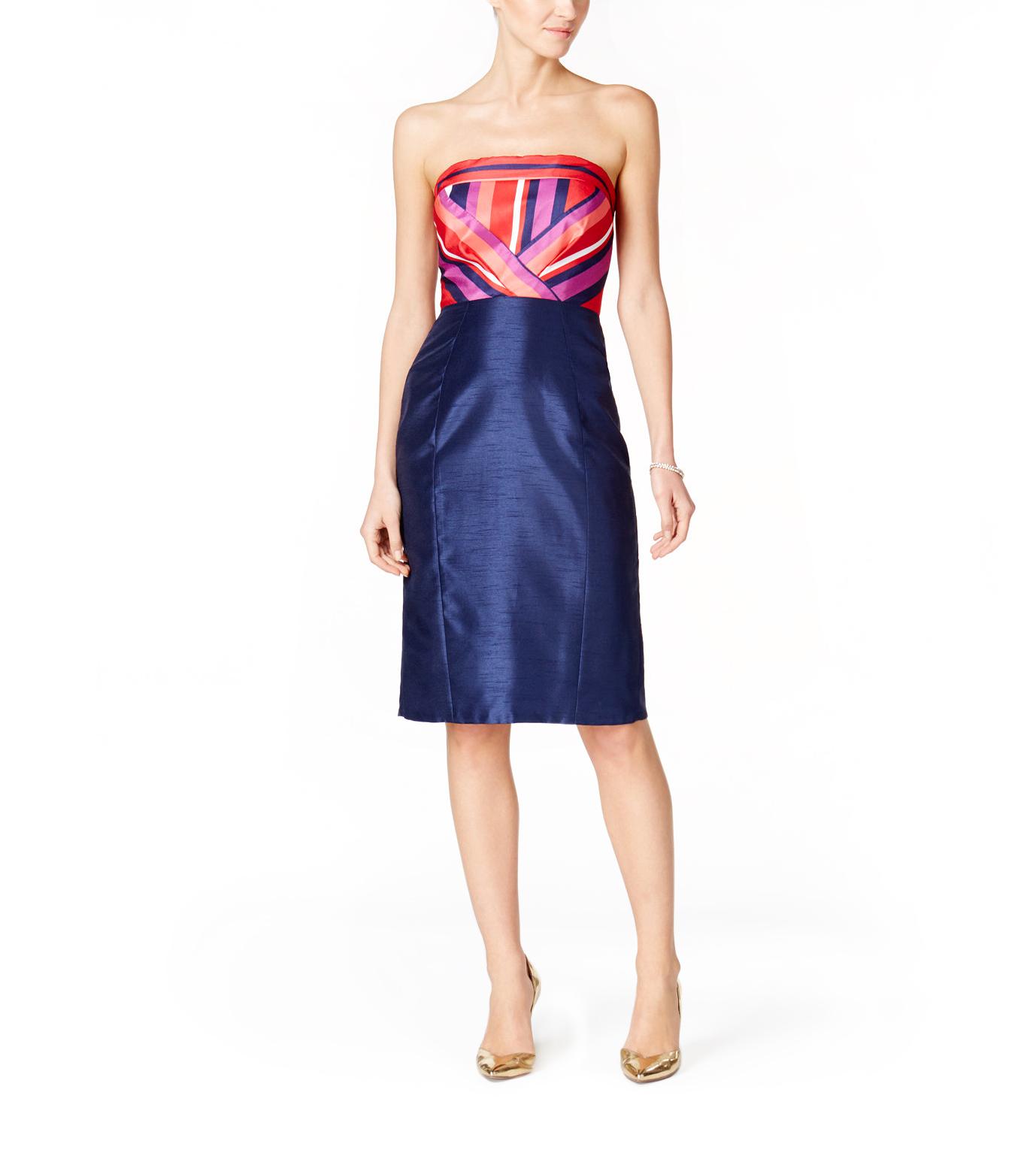 jax strapless striped bodice dress