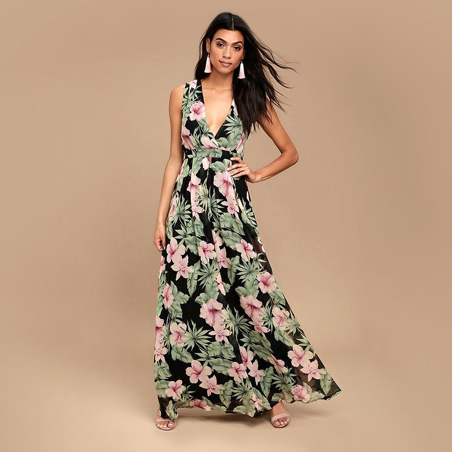 lulus love interest black floral maxi dress