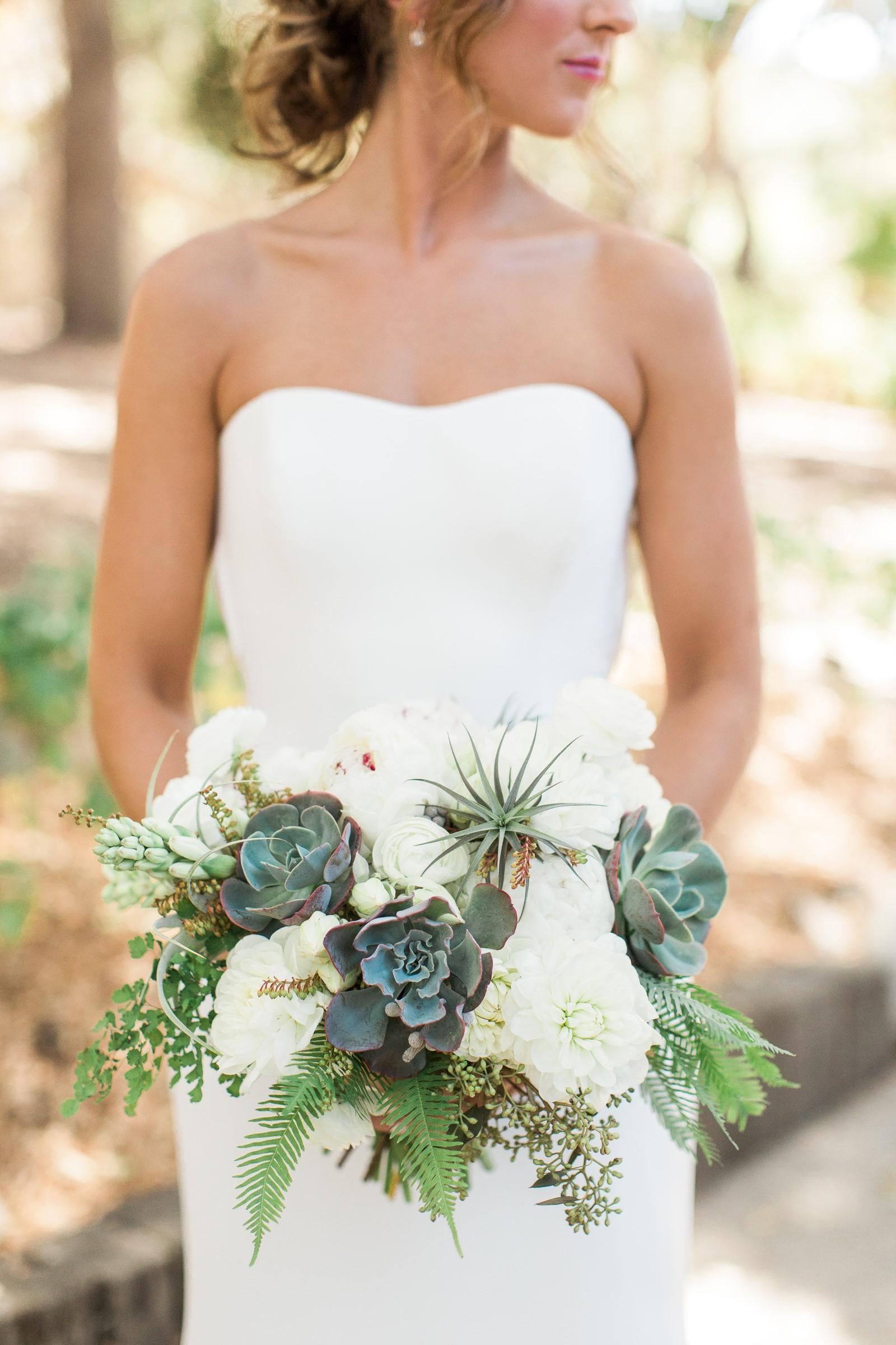 Succulent and air plant wedding bouquet