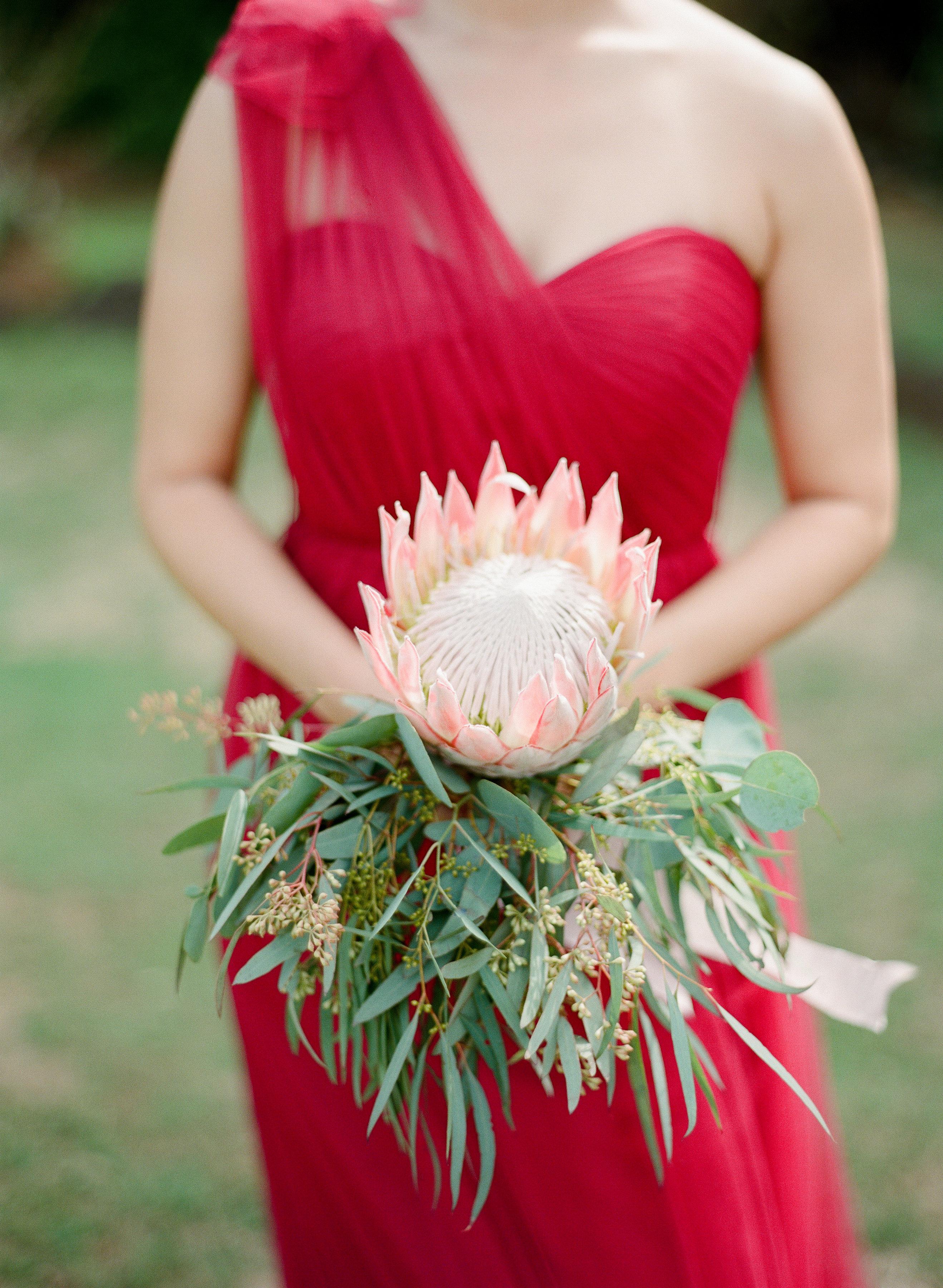 King protea and eucalyptus wedding bouquet