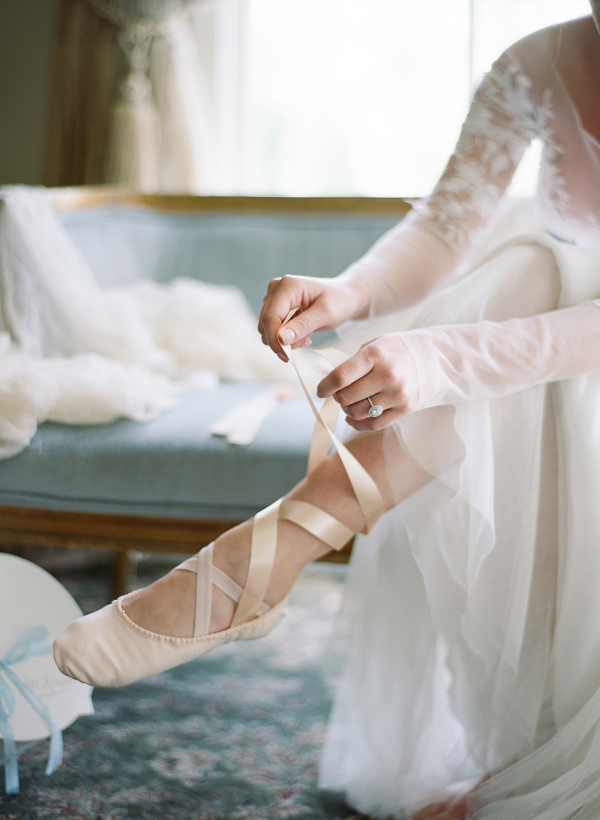 bride with ballet slippers