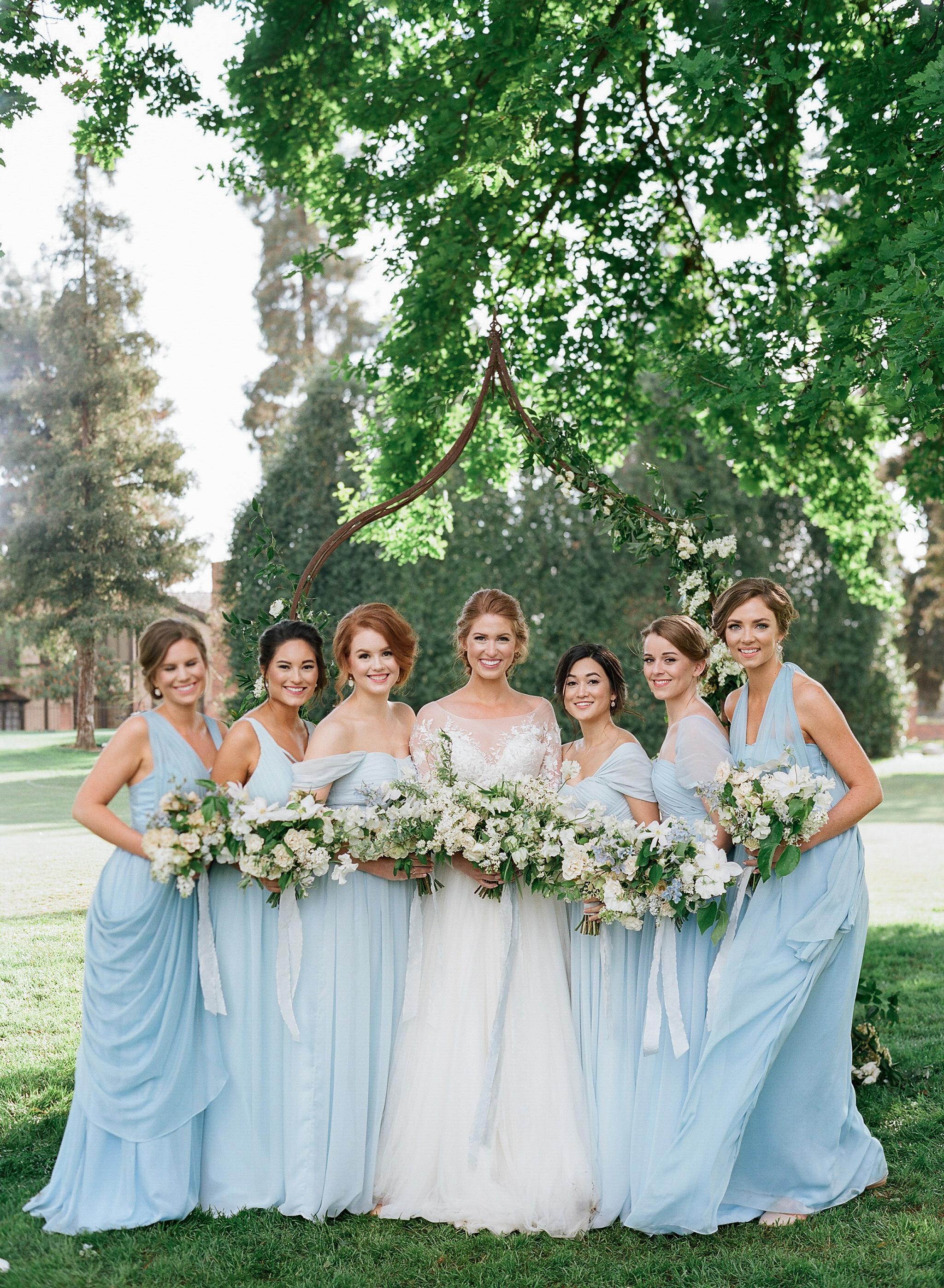 bridesmaids blue dresses