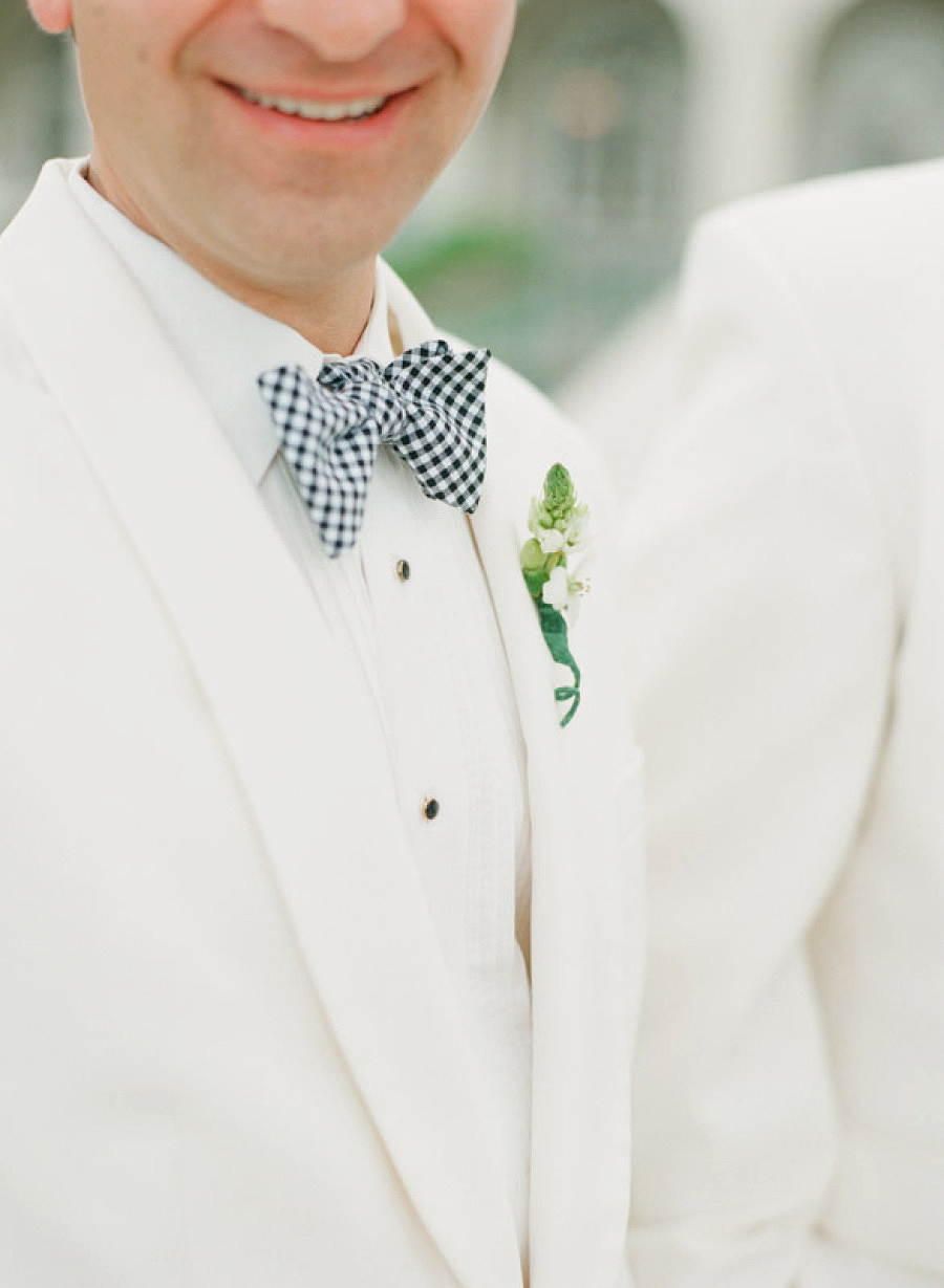 gingham tie white jacket and shirt