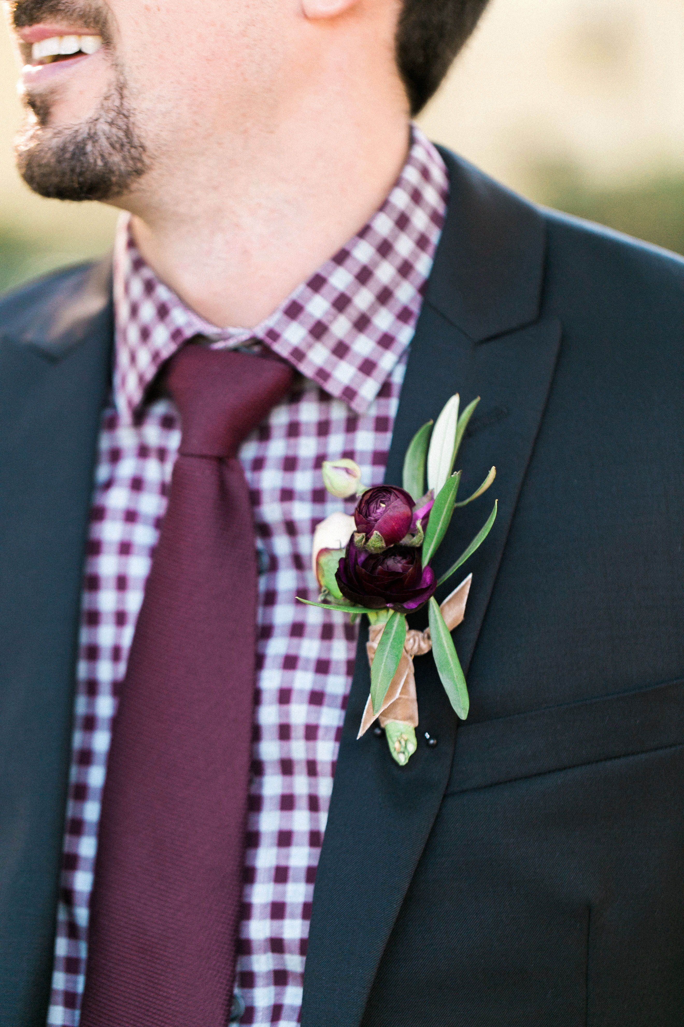 gingham shirt and suit jacket boutonniere