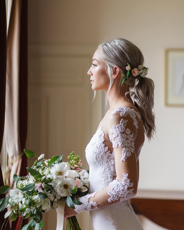 bridal ponytail floral
