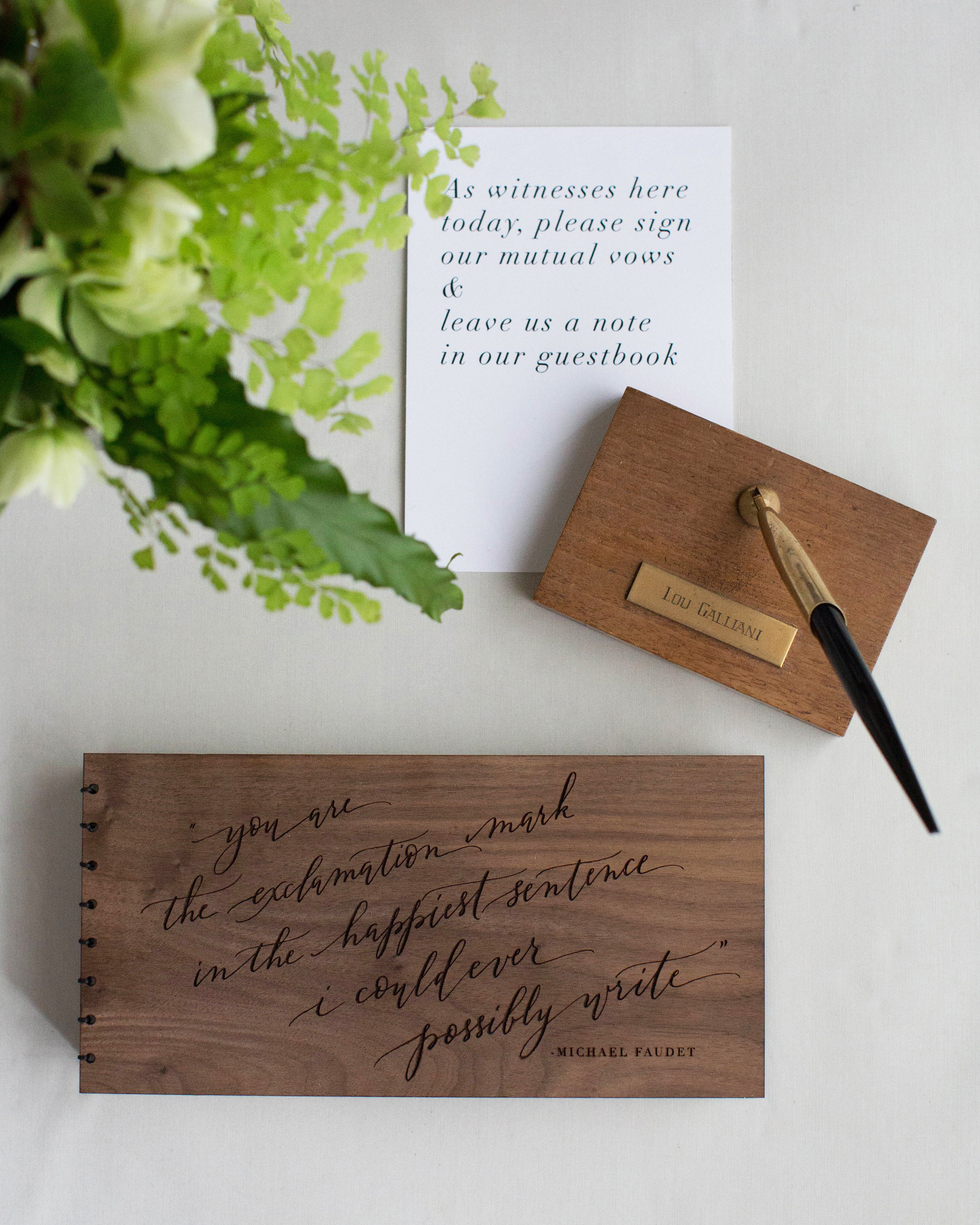 guestbook with pen