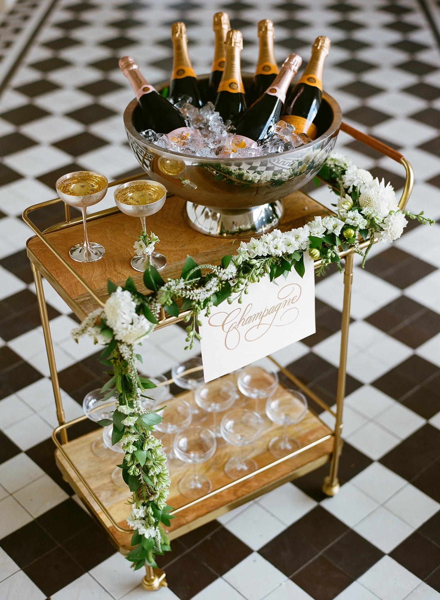 lindsay evan wedding champagne cart