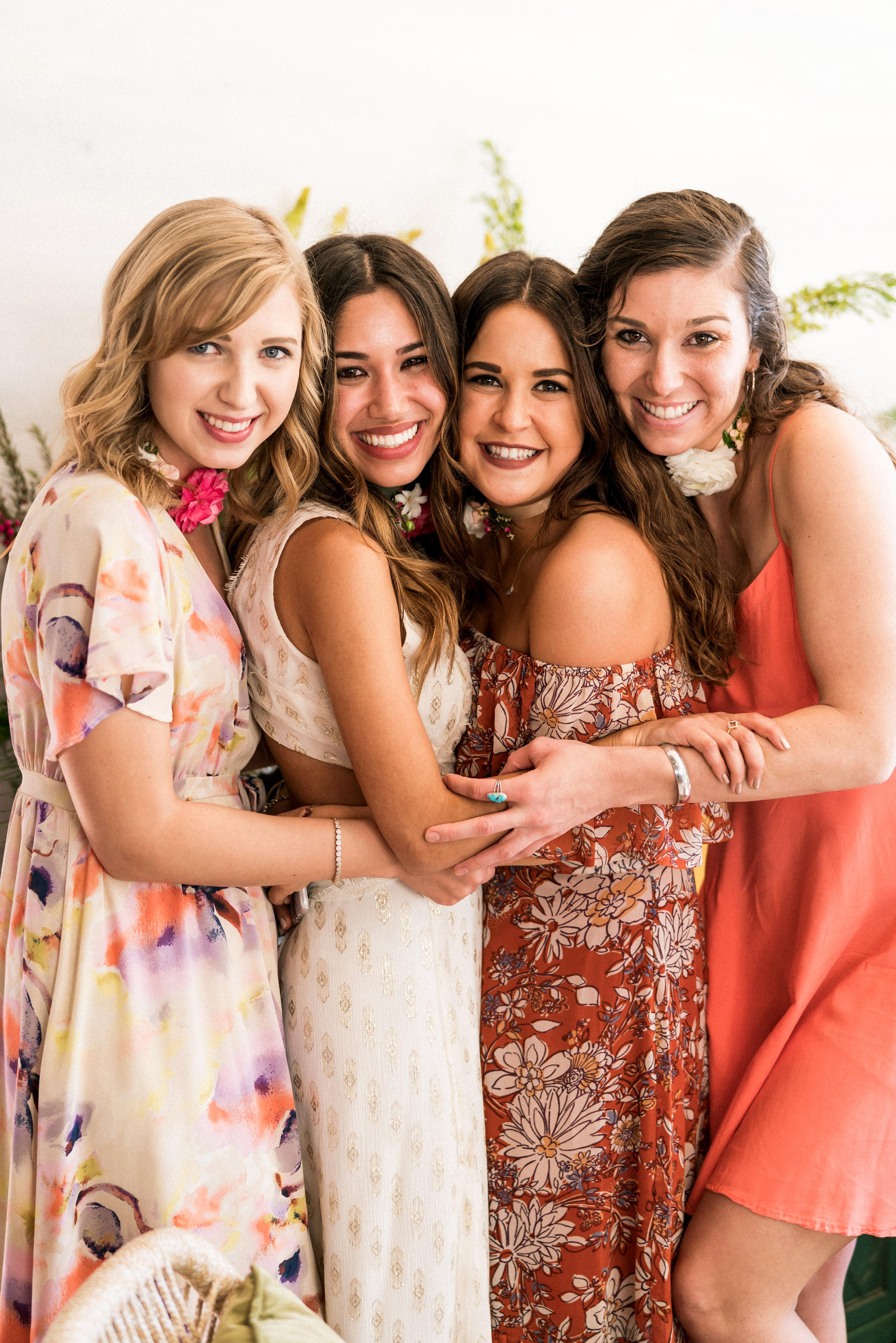 kara bridal shower guests and bride to be posing