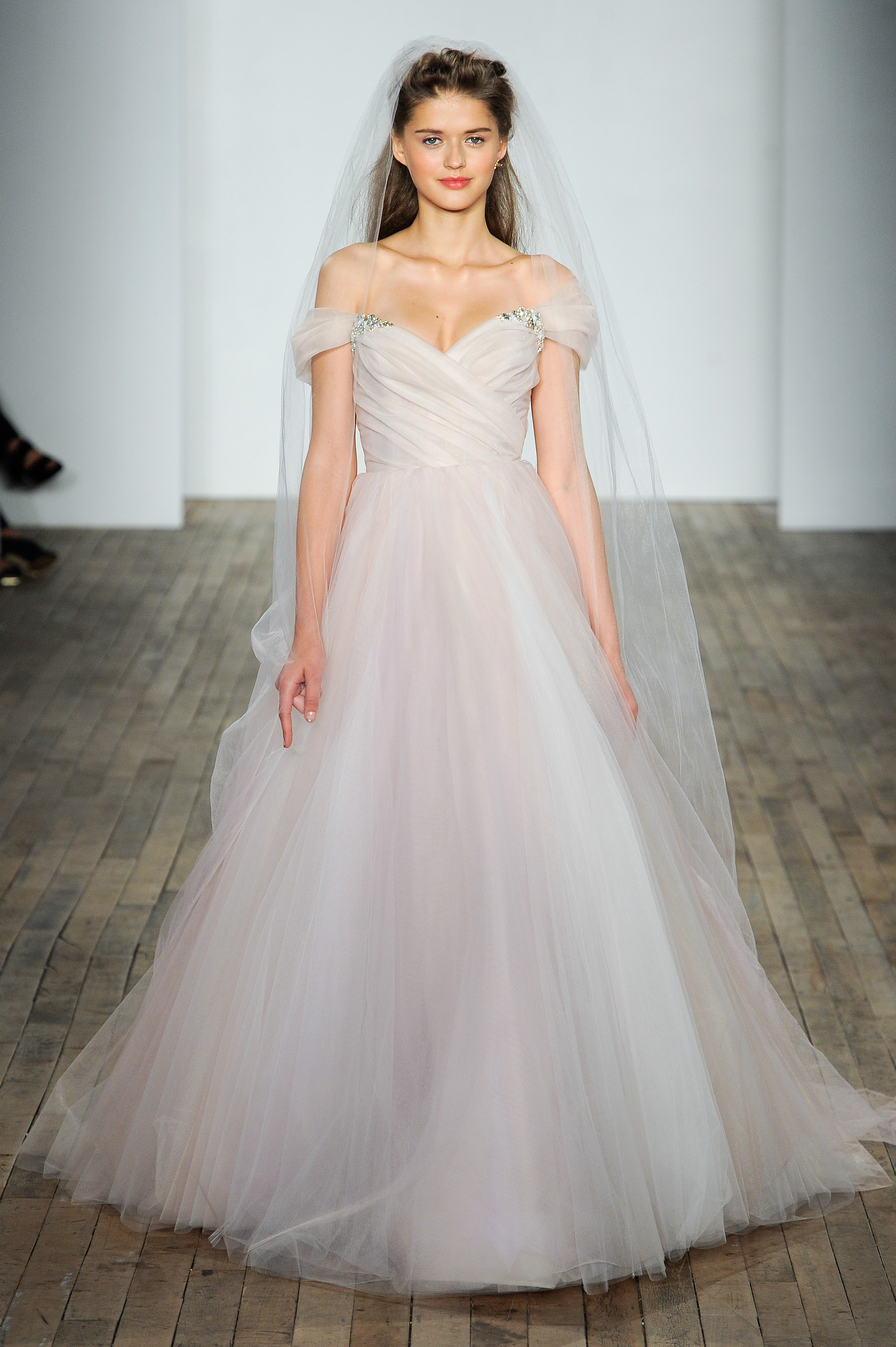 jlm blush by hayley paige wedding dress fall 2018 off-the-shoulder a-line pink