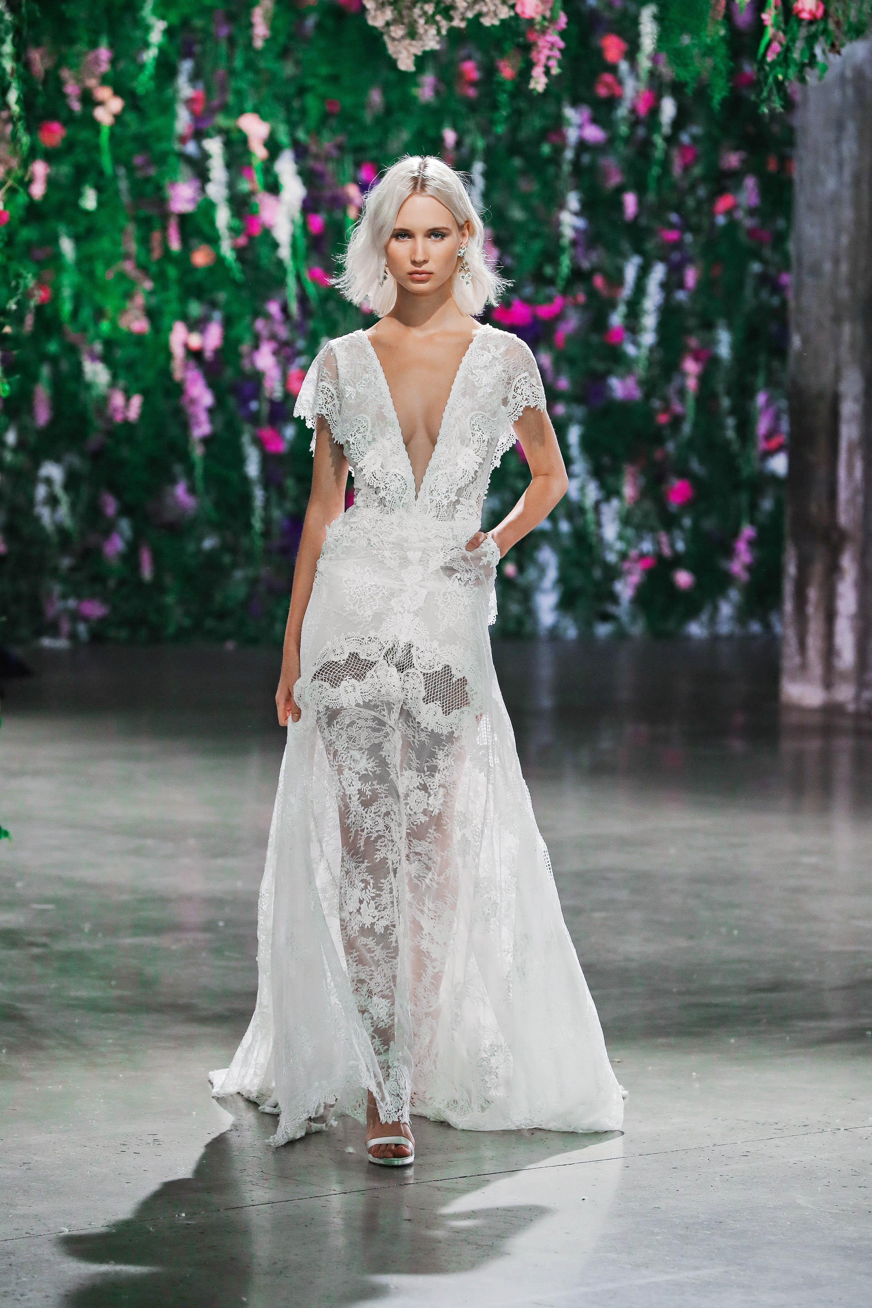 Galia Lahav Floral V-Neck Short Sleeve Wedding Dress Fall 2018