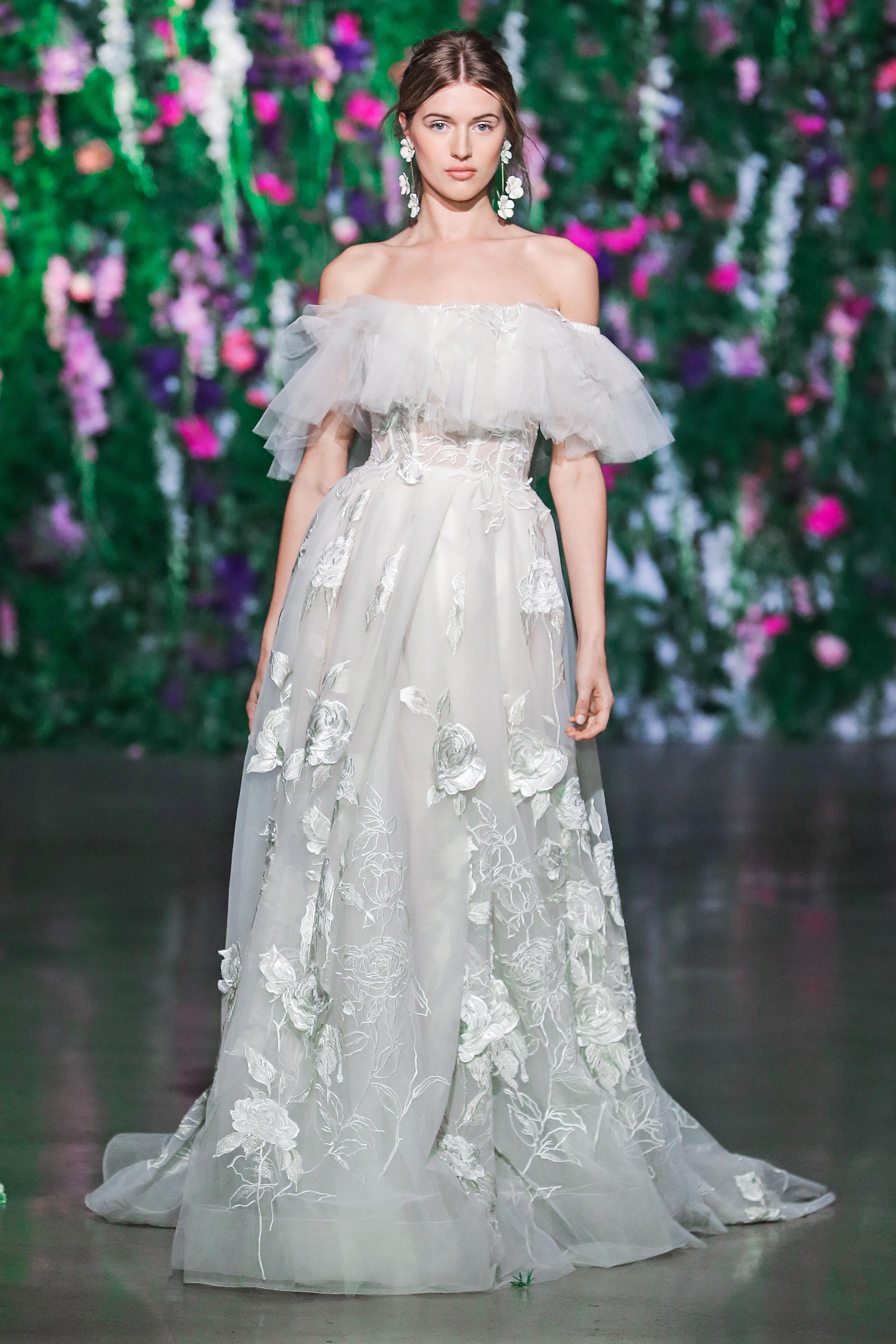 Galia Lahav Floral Off-the-Shoulder Ball Gown Wedding Dress Fall 2018