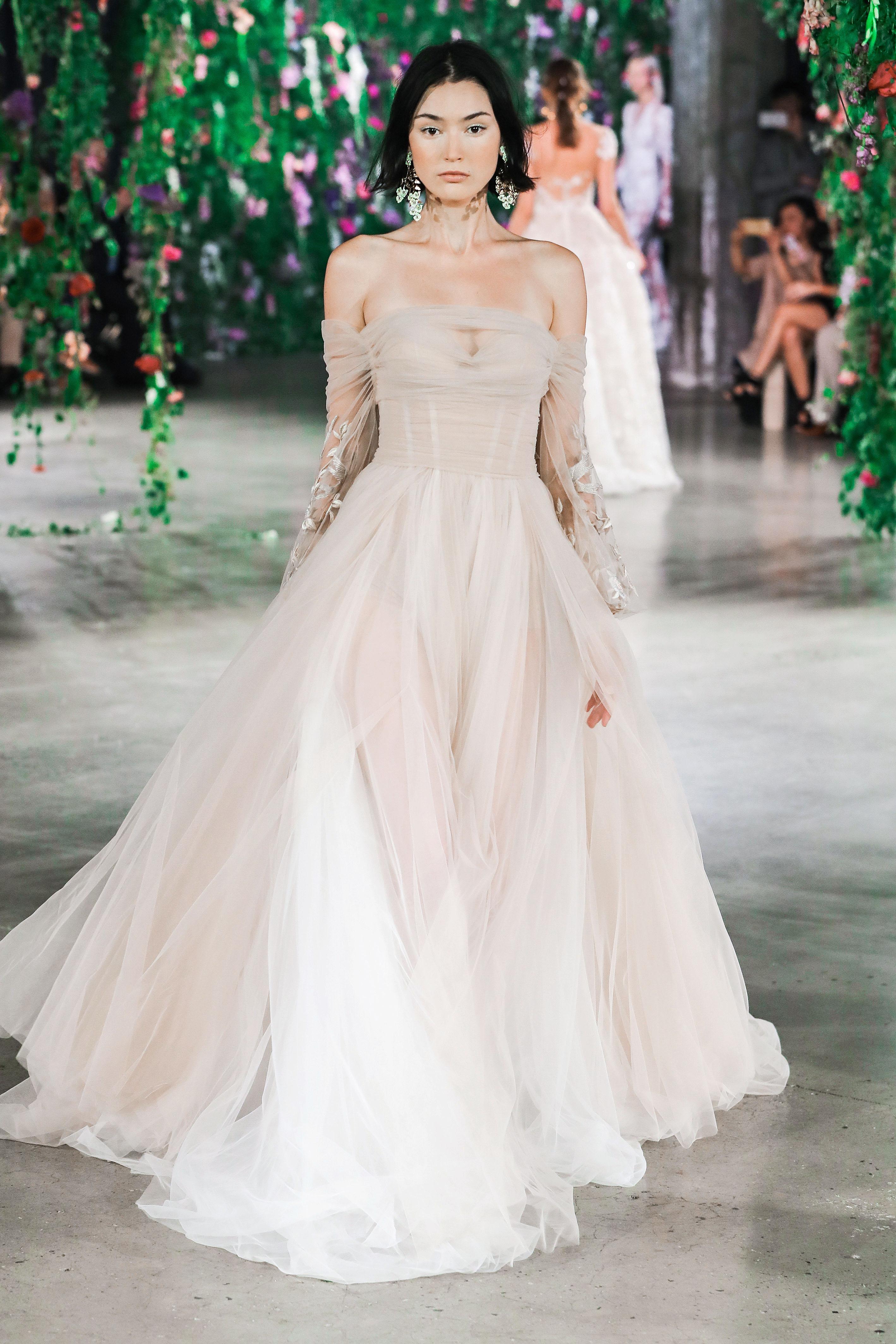 Galia Lahav Off-the-Shoulder with Long Sleeves Wedding Dress Fall 2018