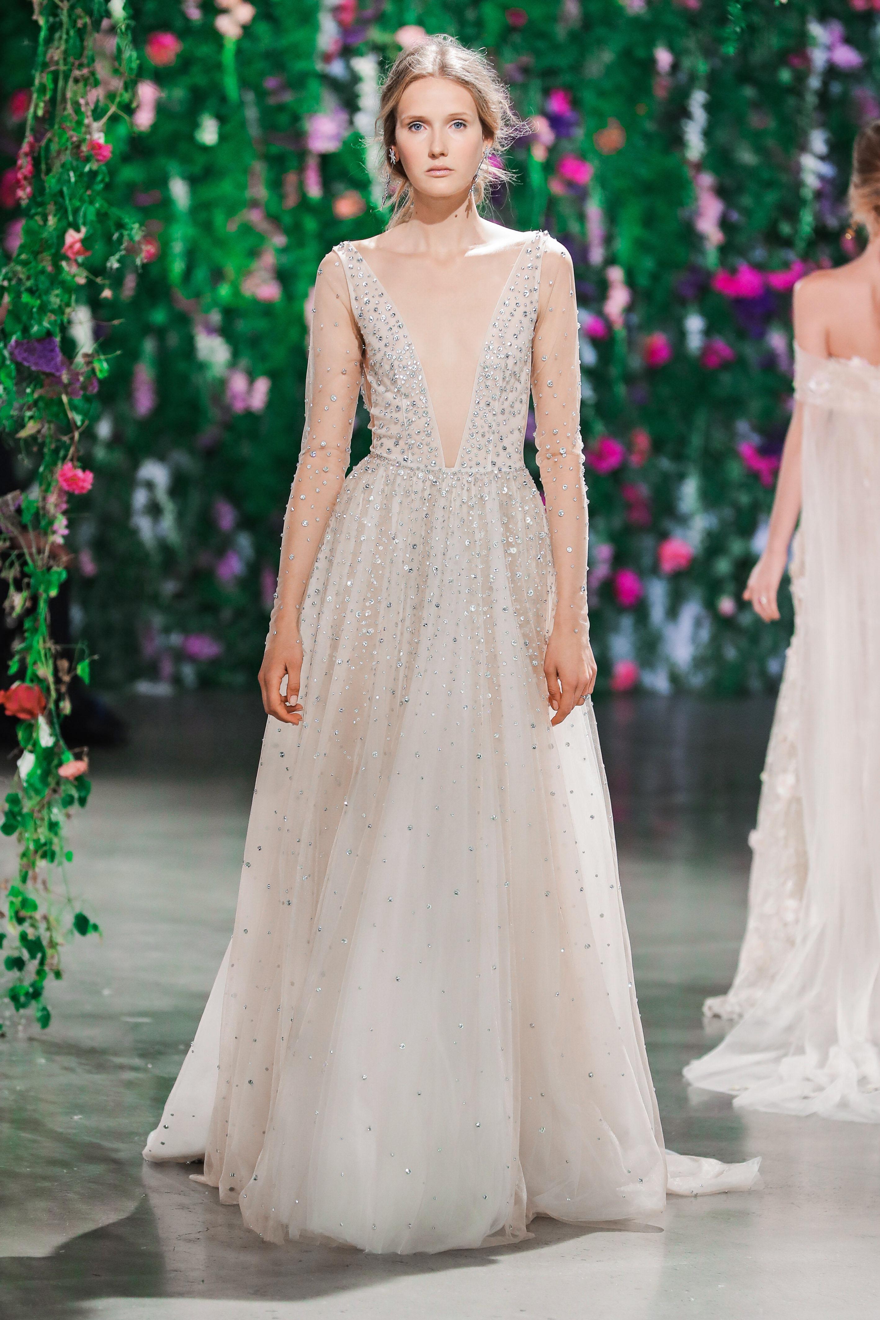 Galia Lahav Long Sleeves V-Neck A-Frame Wedding Dress Fall 2018