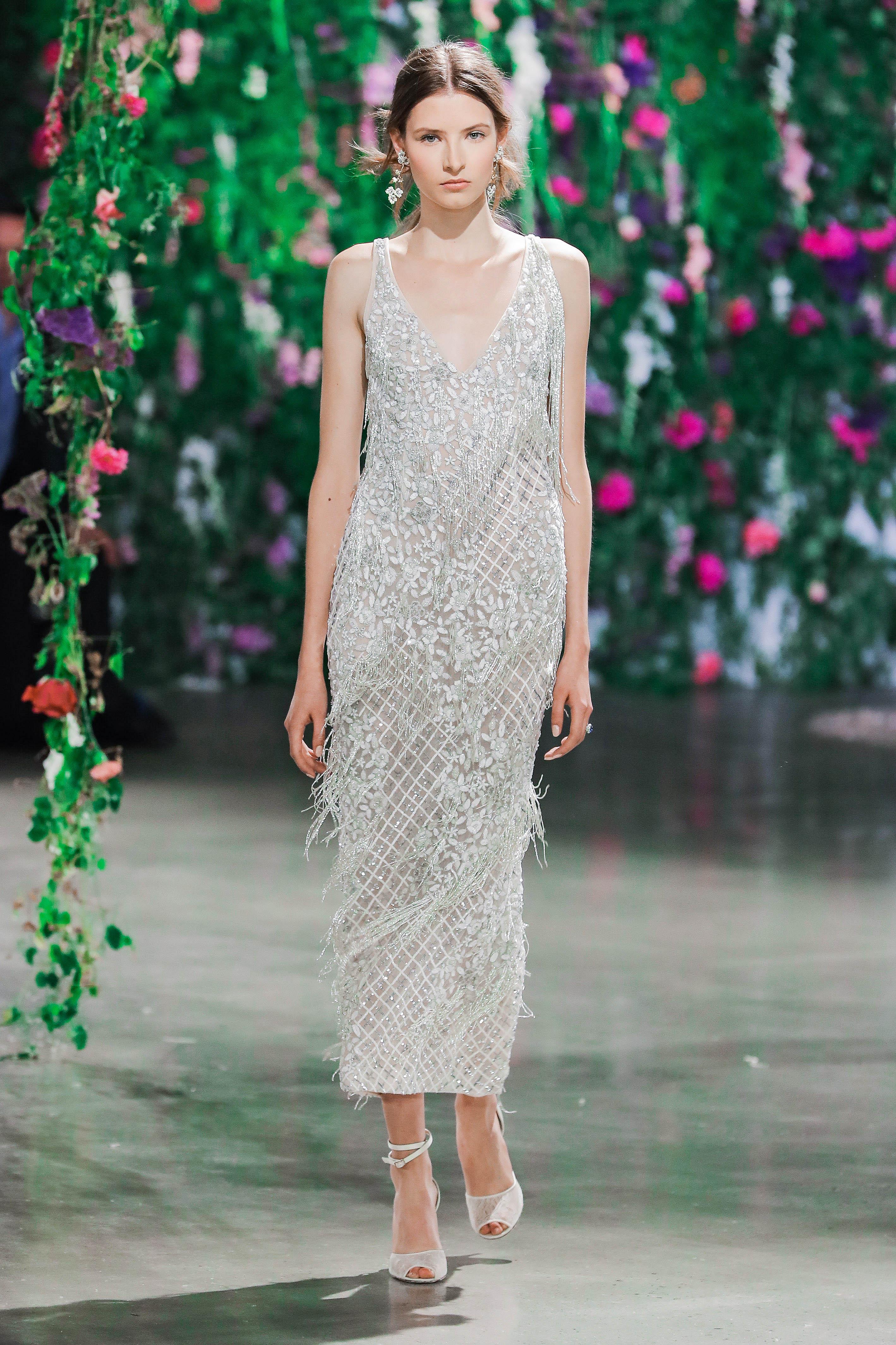 Galia Lahav Embellished Sheath Wedding Dress Fall 2018