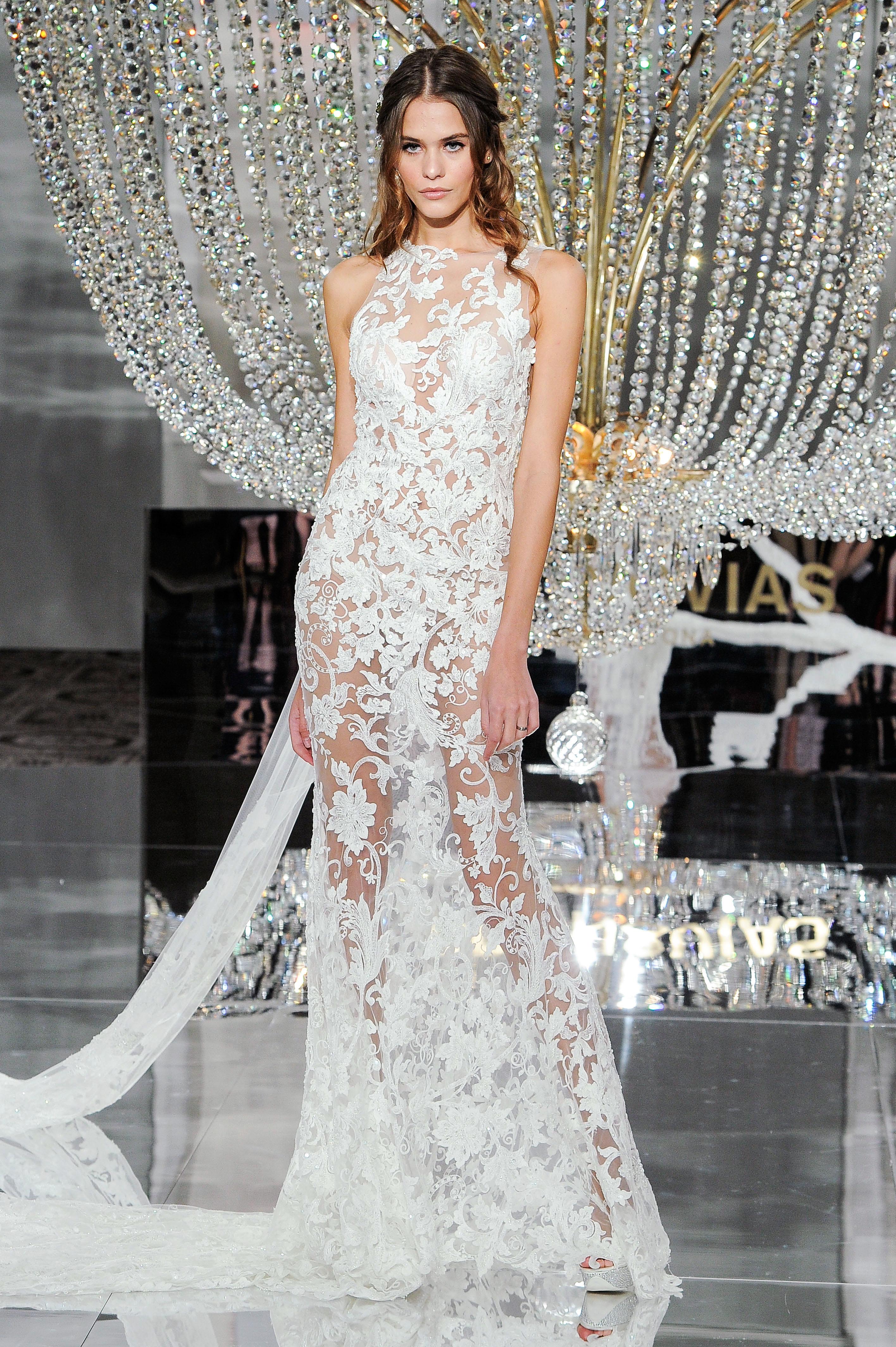 pronovias wedding dress fall 2018 sleeveless sheer high neck lace