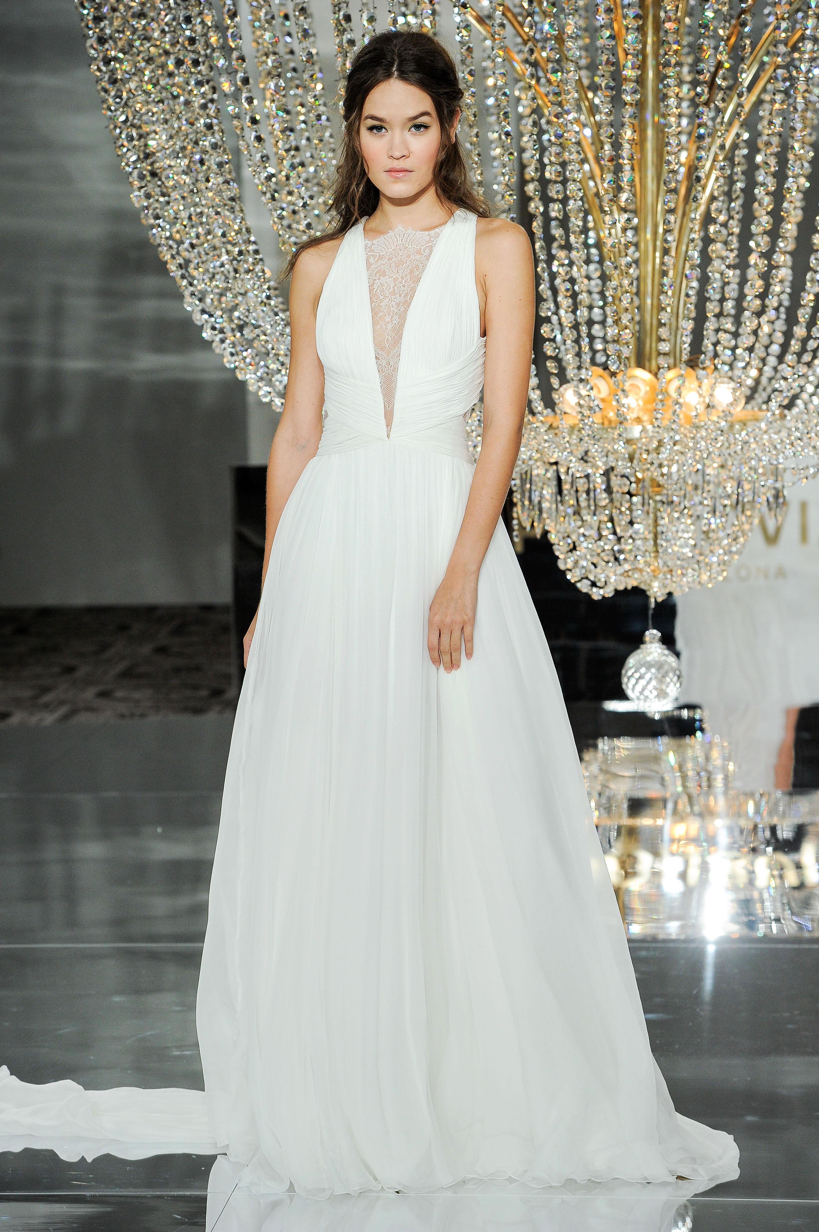 pronovias wedding dress fall 2018 strapless deep v-neck a-line