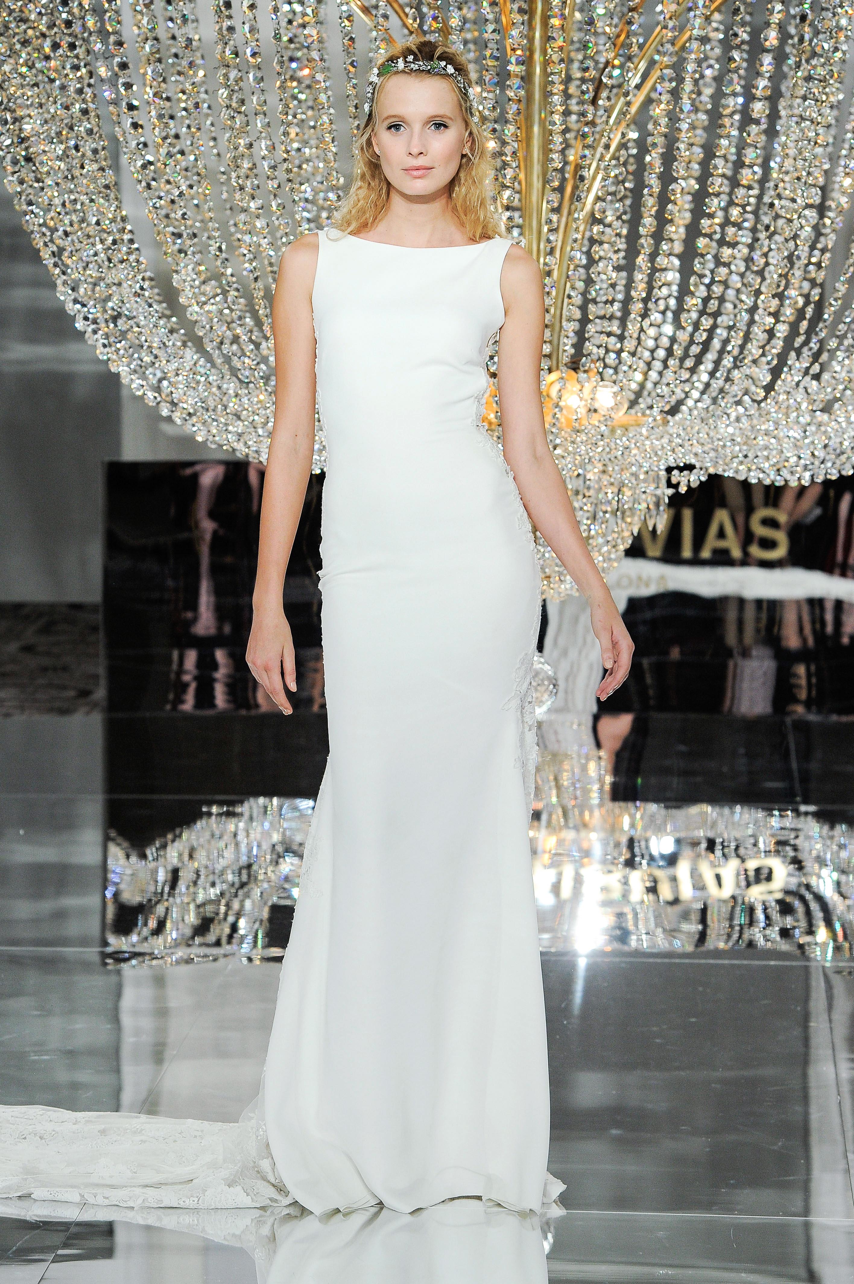 pronovias wedding dress fall 2018 boatneck sleeveless column