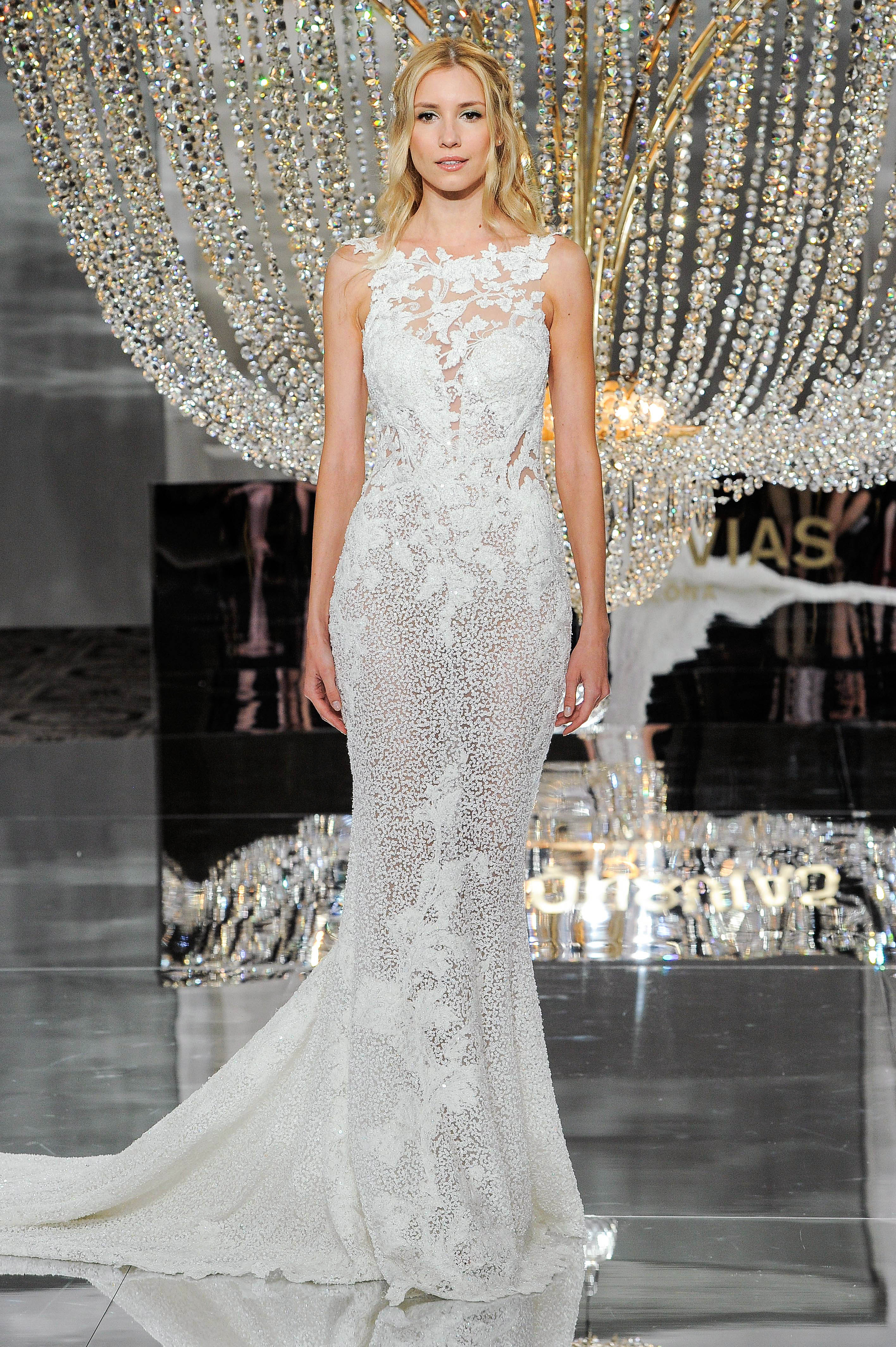 pronovias wedding dress fall 2018 strapless lace trumpet