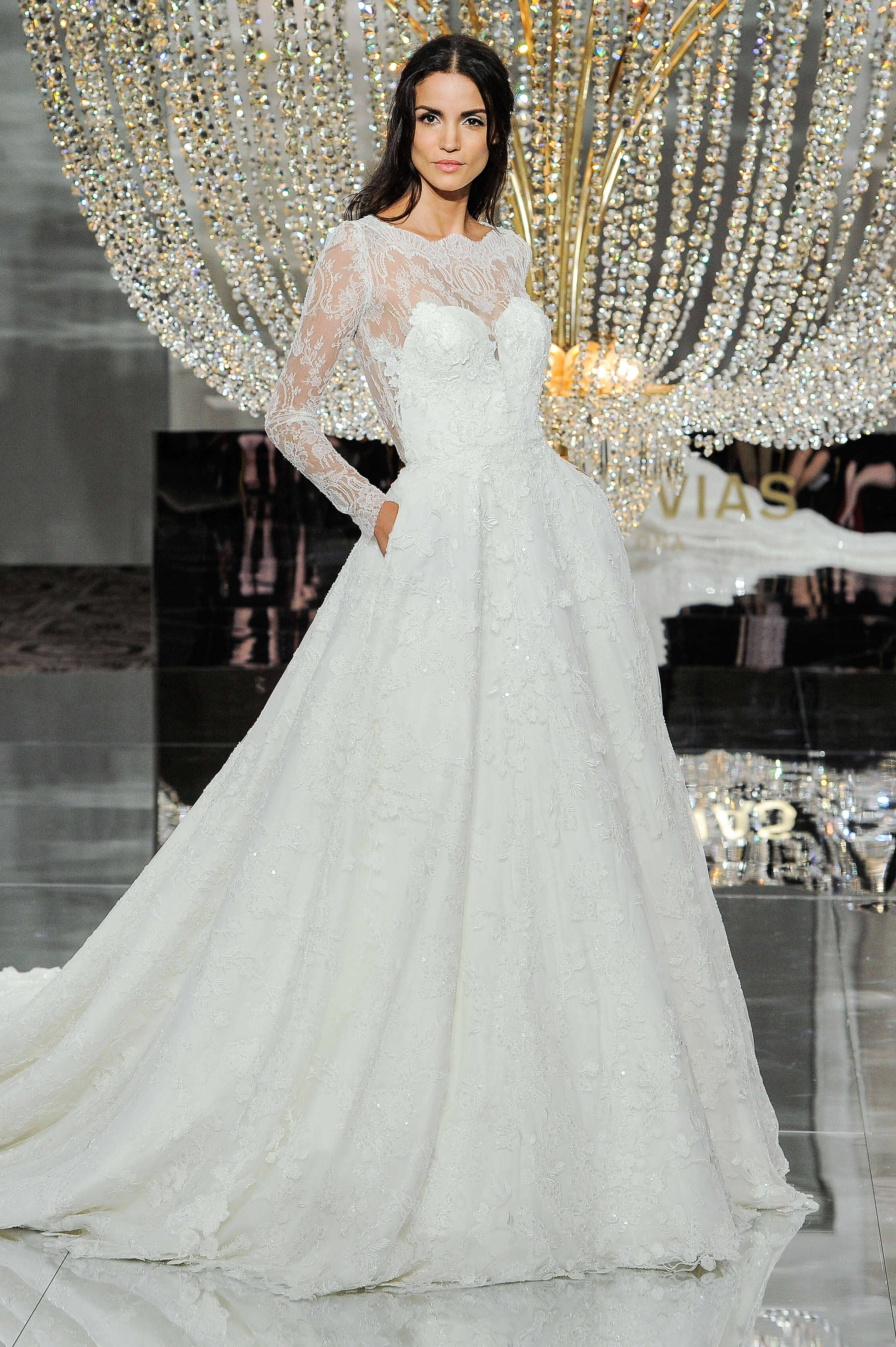 pronovias wedding dress fall 2018 long sleeves lace illusion ball gown