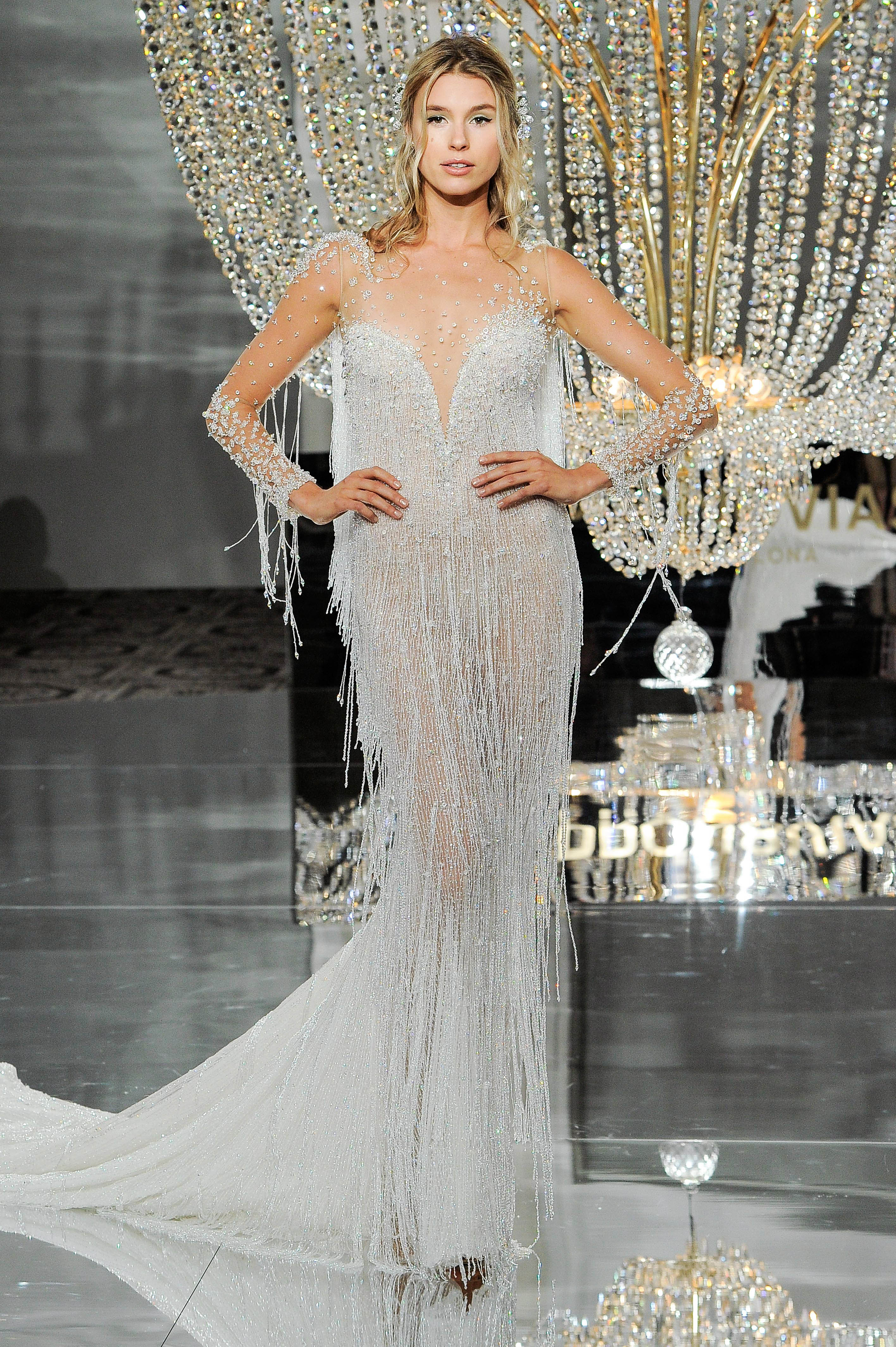 pronovias wedding dress fall 2018 illusion long sleeves fringe trumpet