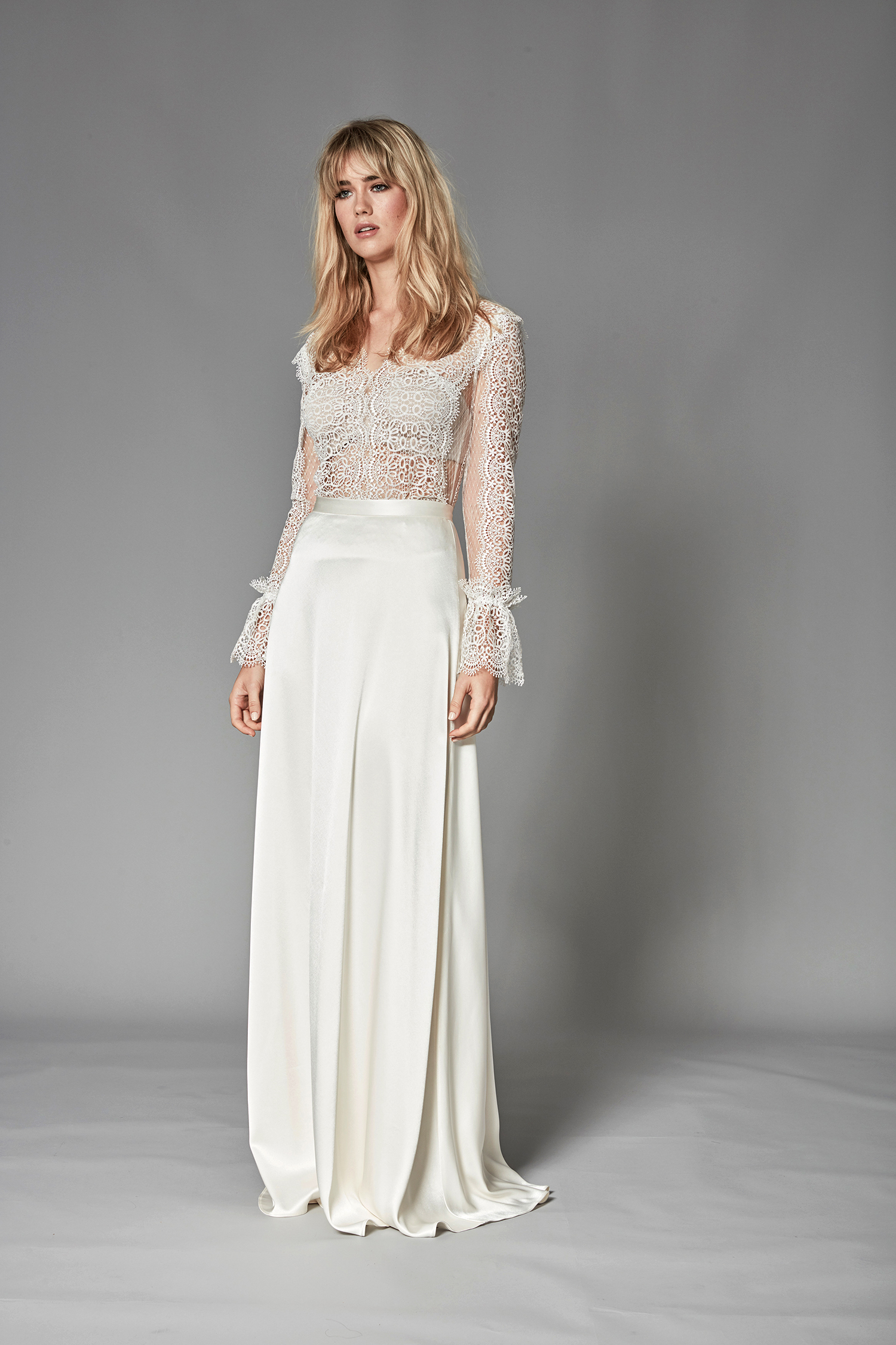 catherine deane fall 2018 long-sleeved sheer lace bodice