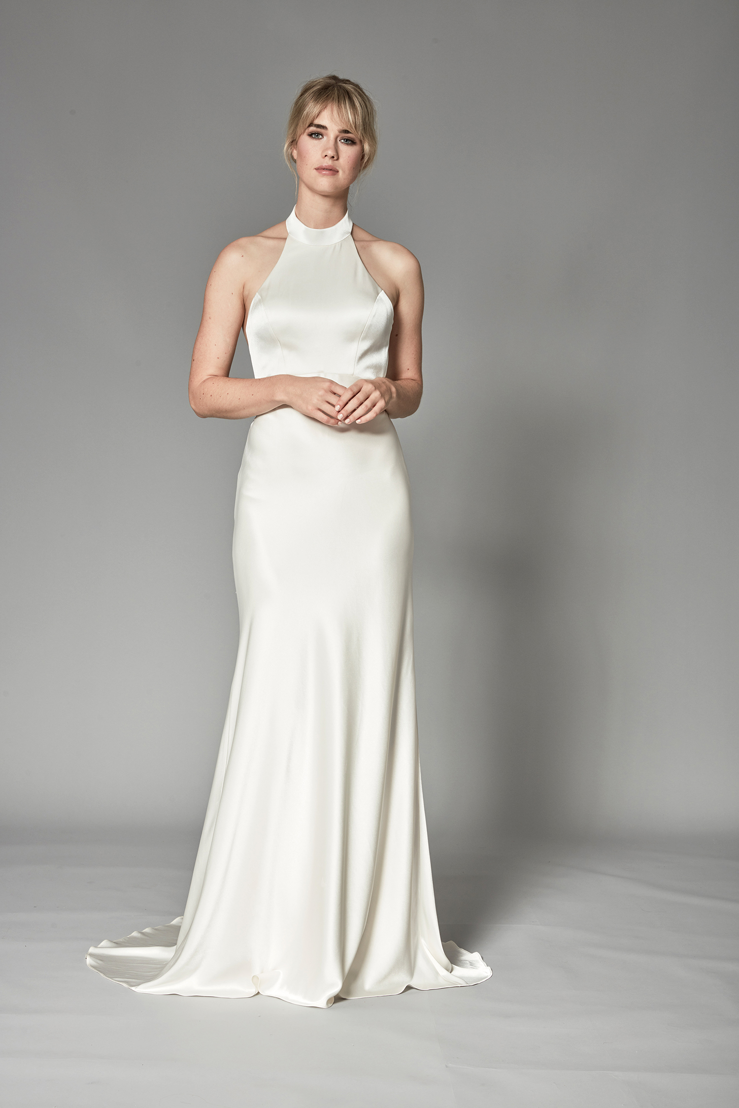 catherine deane fall 2018 high-neck halter trumpet