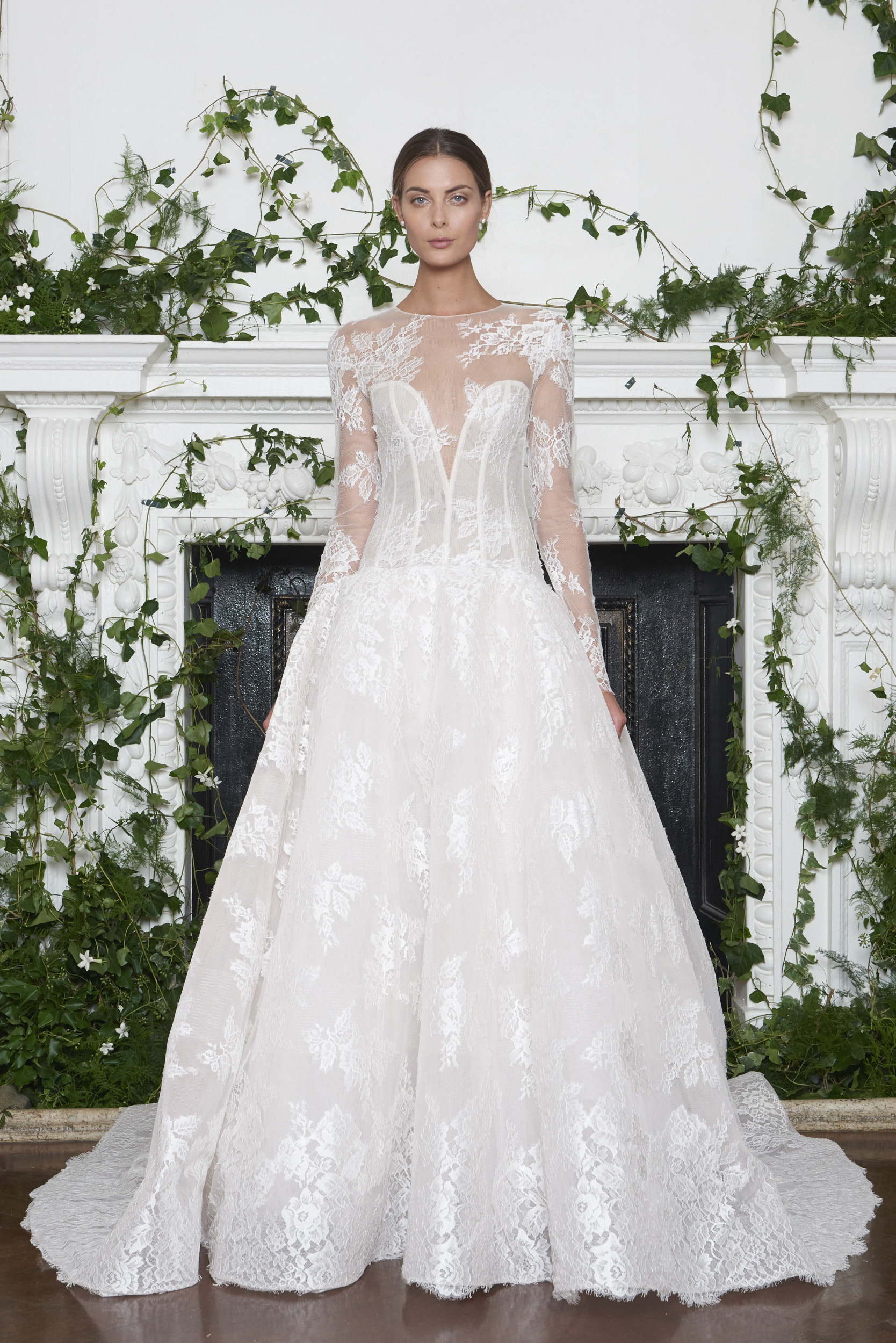 Monique Lhuillier Fall 2018 Ball Gown with Long Sleeves