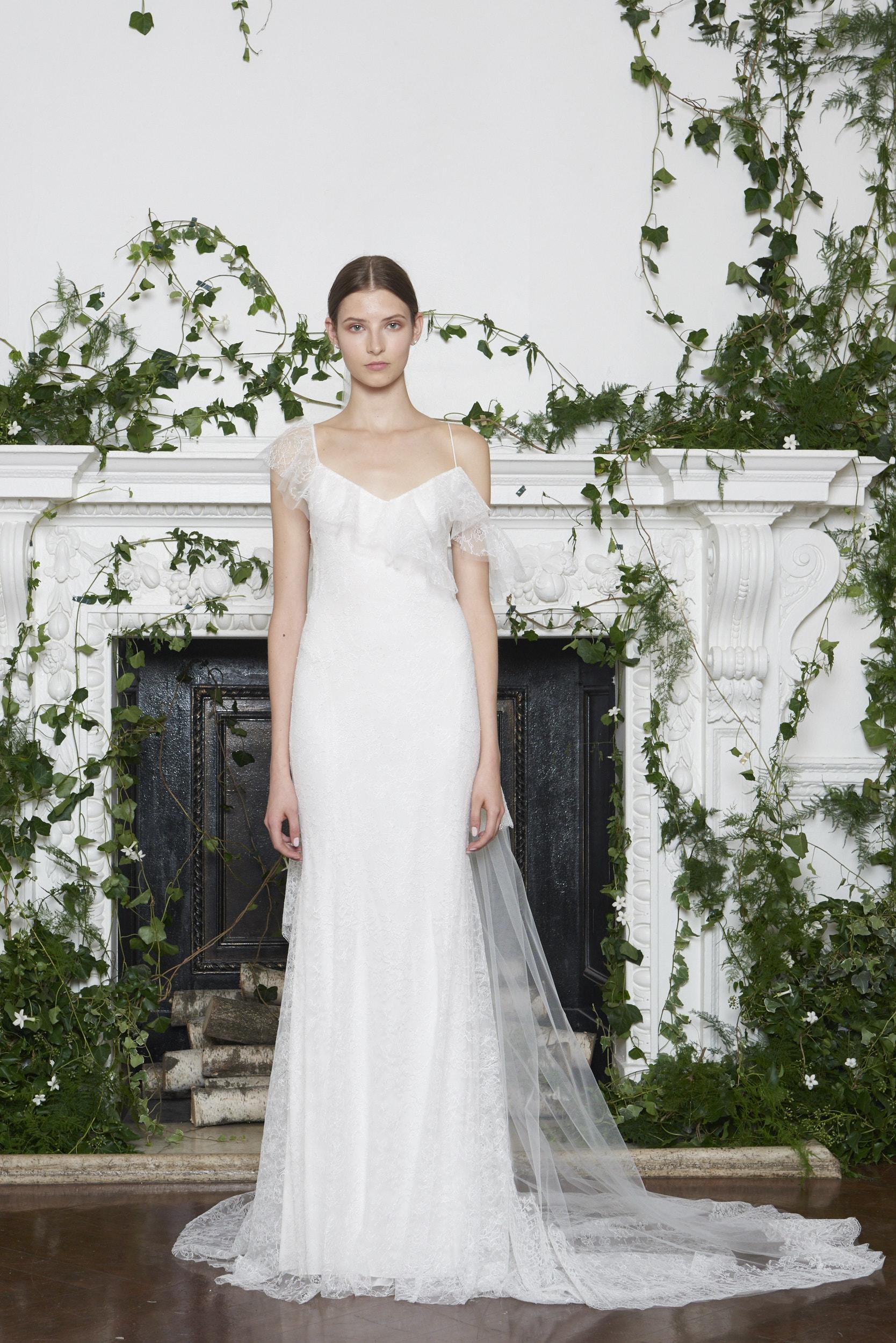 Monique Lhuillier Fall 2018 Sheath Wedding Dress with Asymmetrical Sleeves