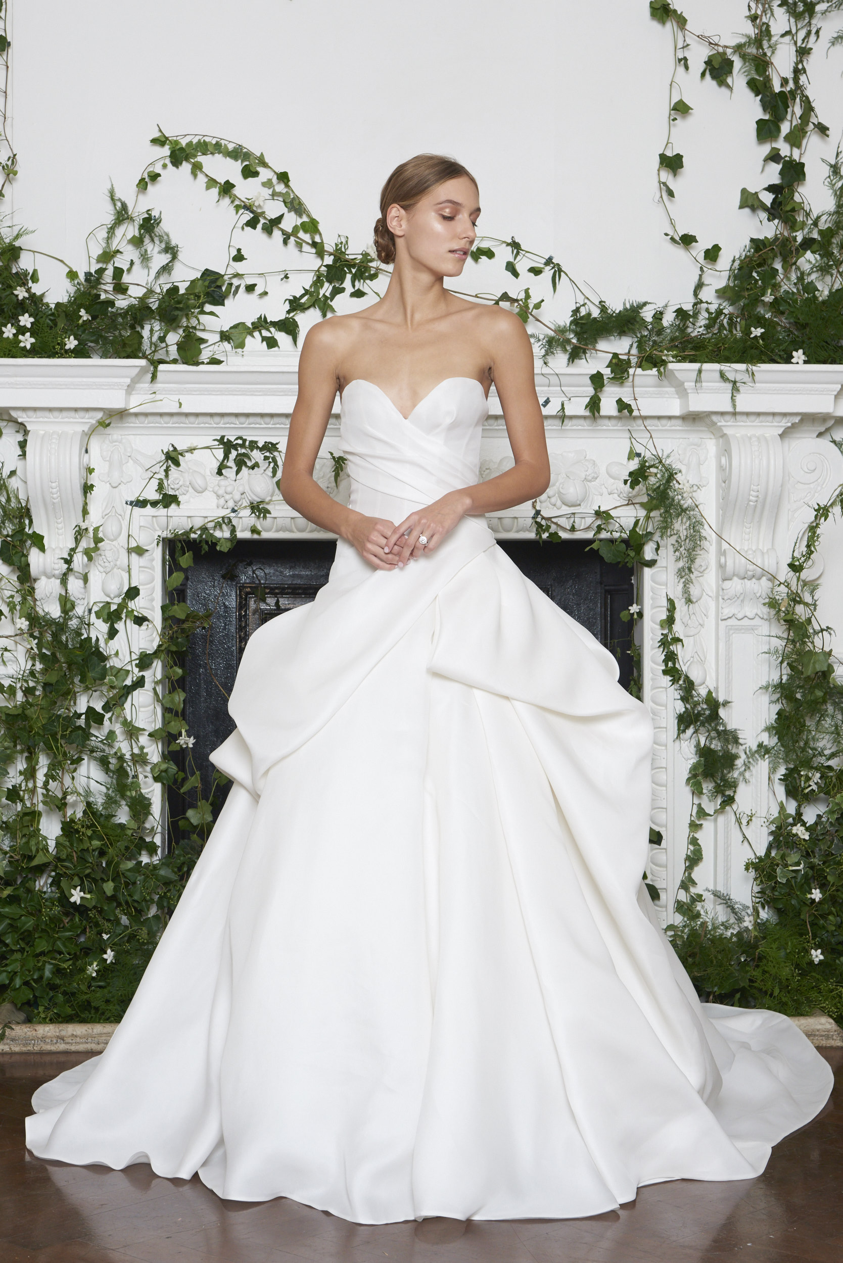 Monique Lhuillier Fall 2018 Strapless Ball Gown with Layered Skirt