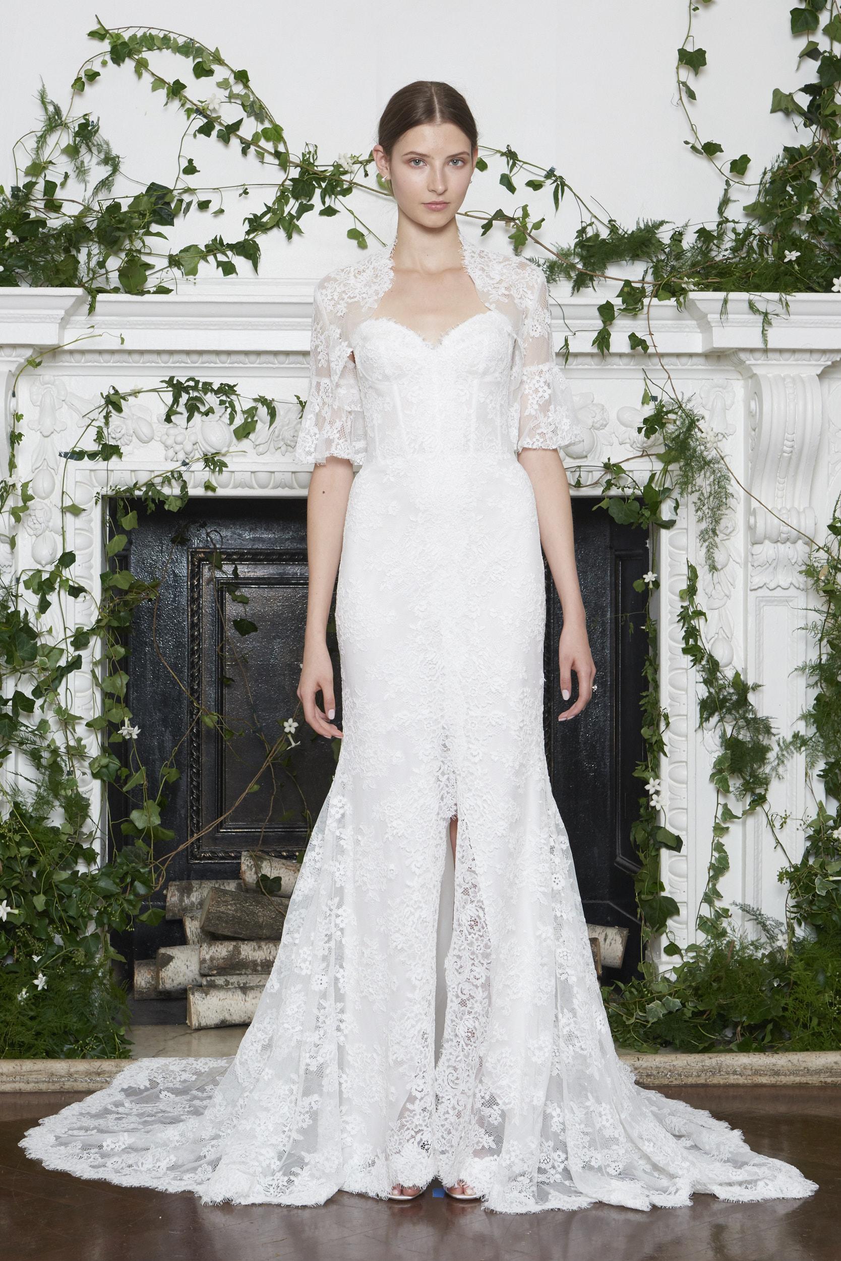 Monique Lhuillier Fall 2018 Strapless Lace Wedding Dress with Bolero
