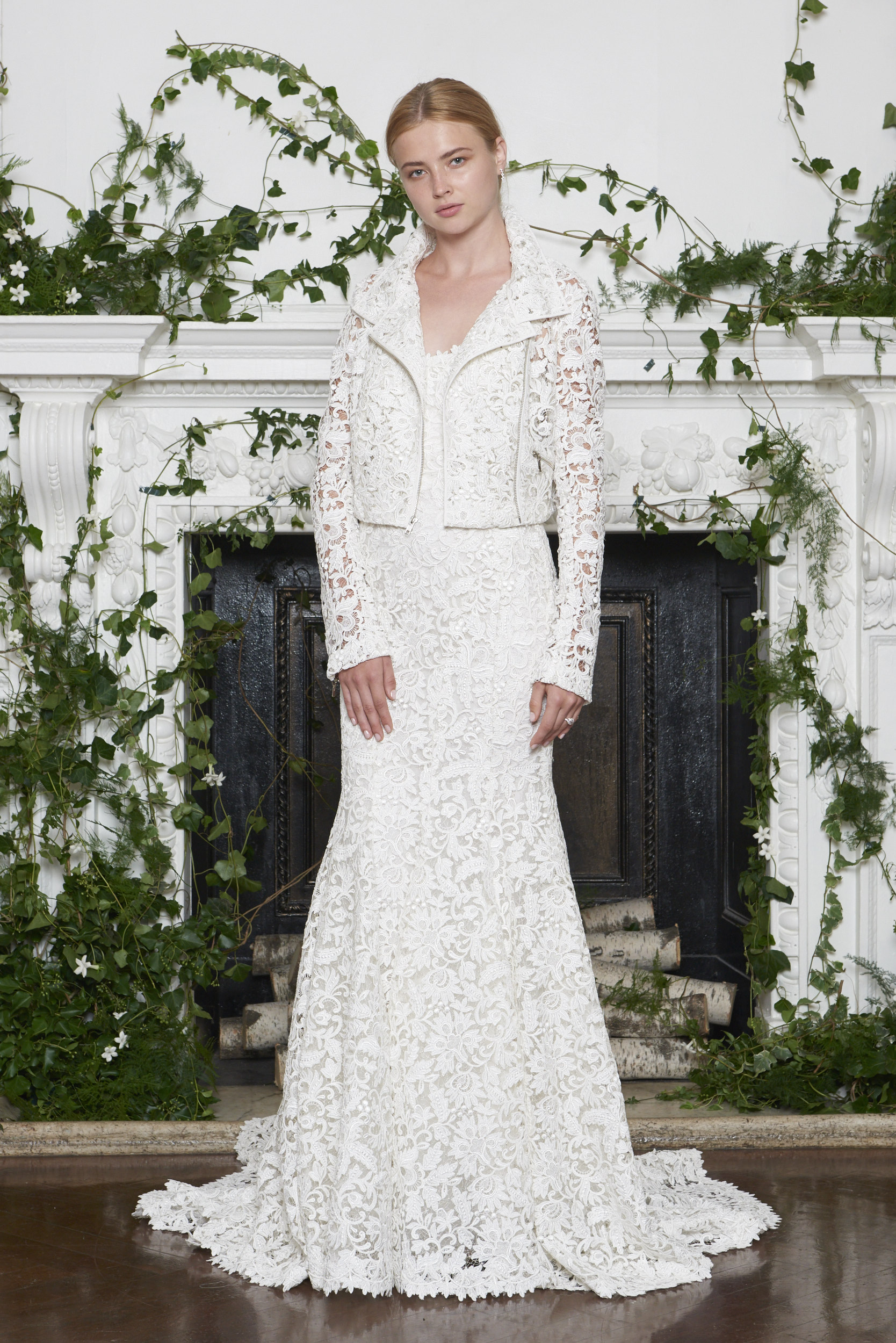 Monique Lhuillier Fall 2018 Lace Sheath with Matching Jacket