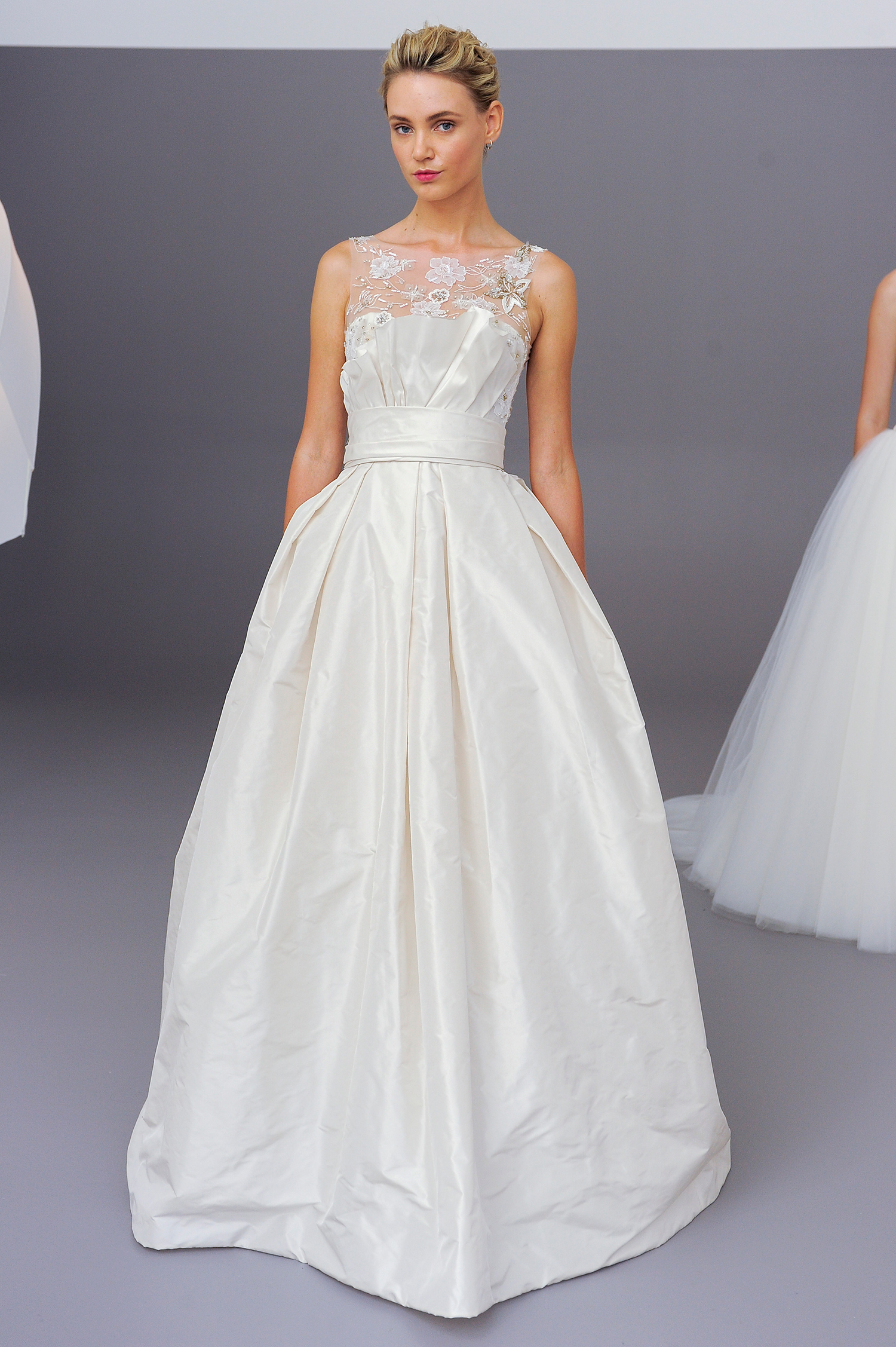 amsale fall 2018 ball gown with illusion neck