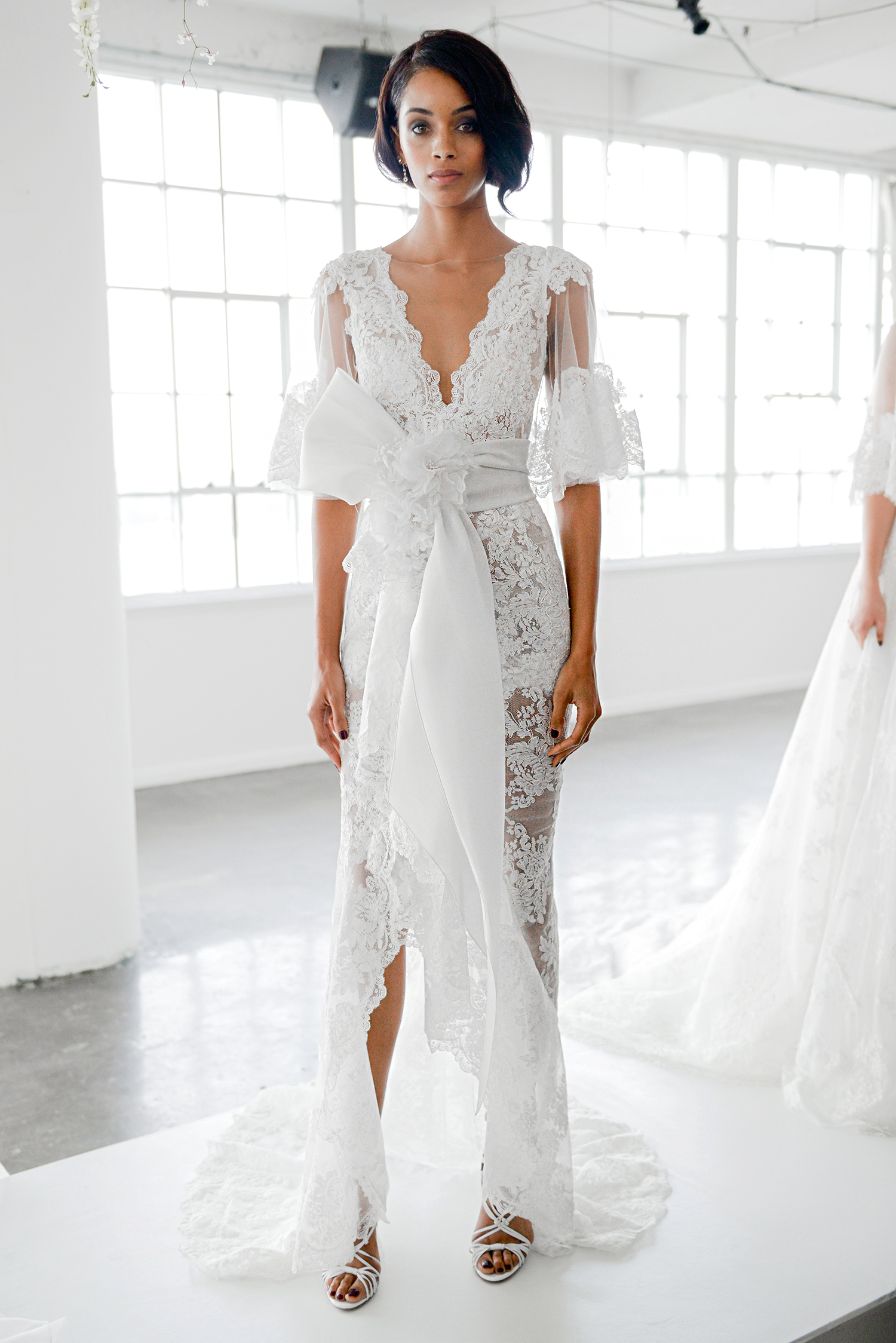 marchesa fall 2018 sheer and lace with bow