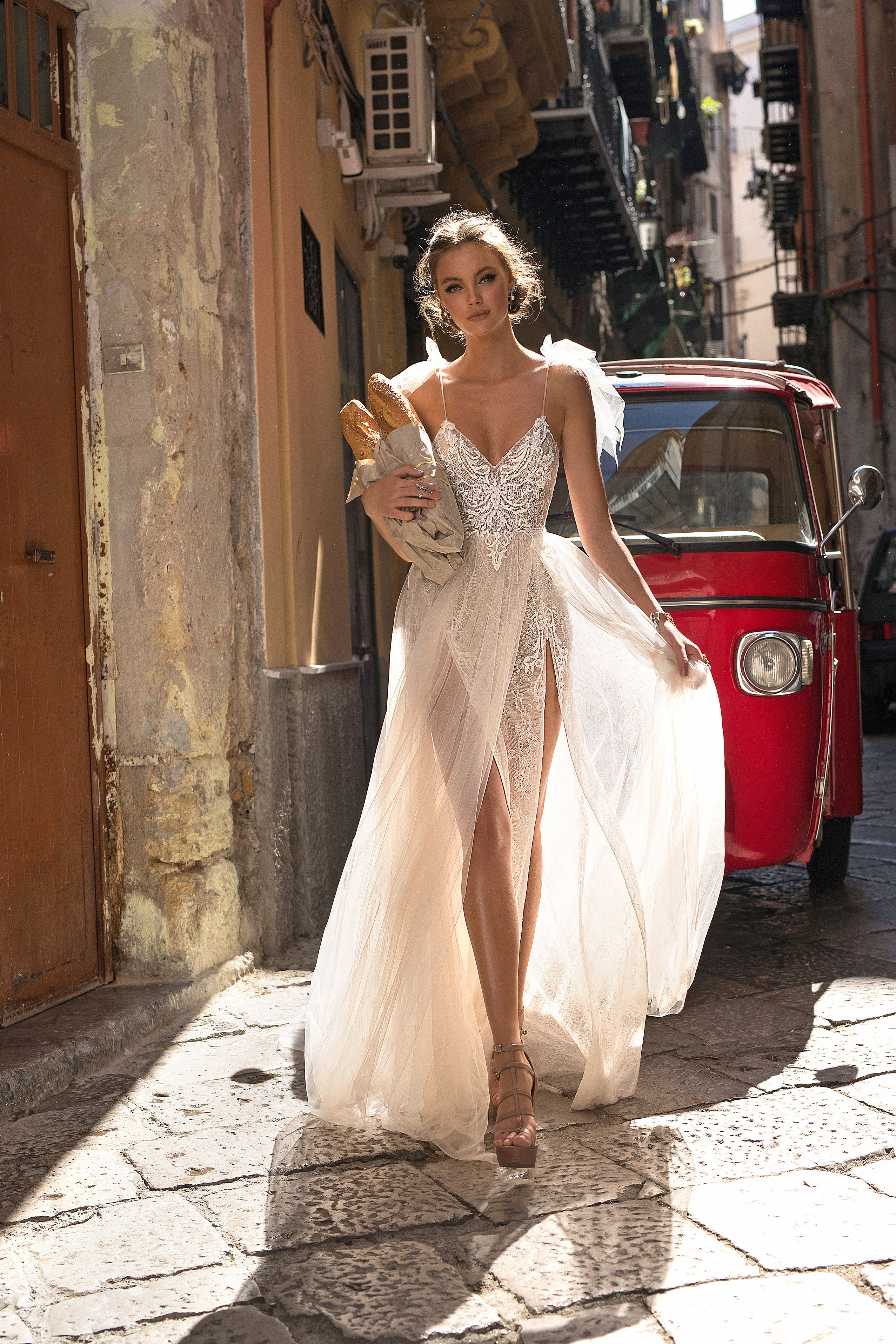 Muse by Berta V-Neck Spaghetti Strap with Sheer Skirt Wedding Dress Fall 2018