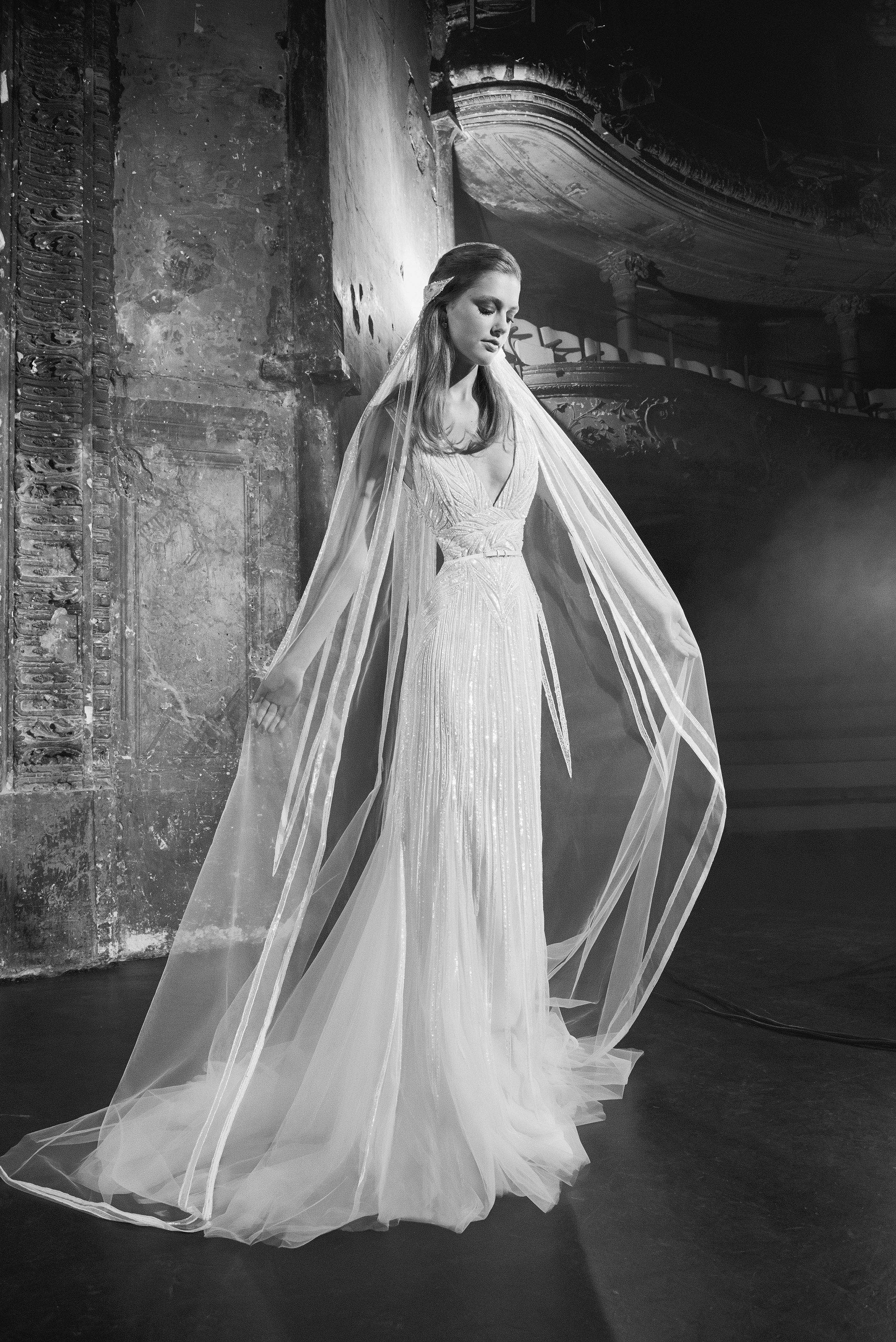 Elie Saab V-Neck with Cape Wedding Dress Fall 2018