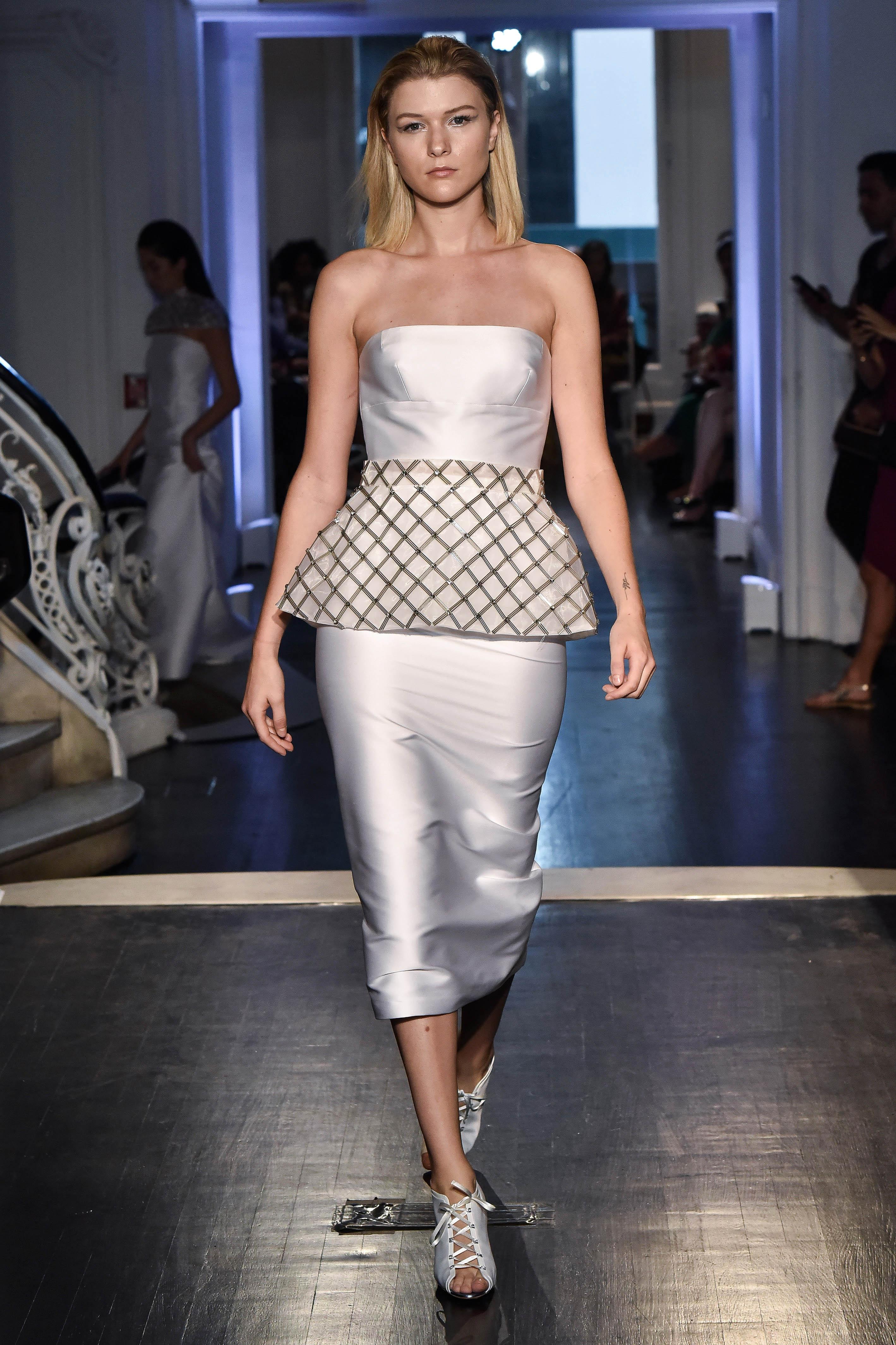 lakum wedding dress fall 2018 strapless satin knee length layered short