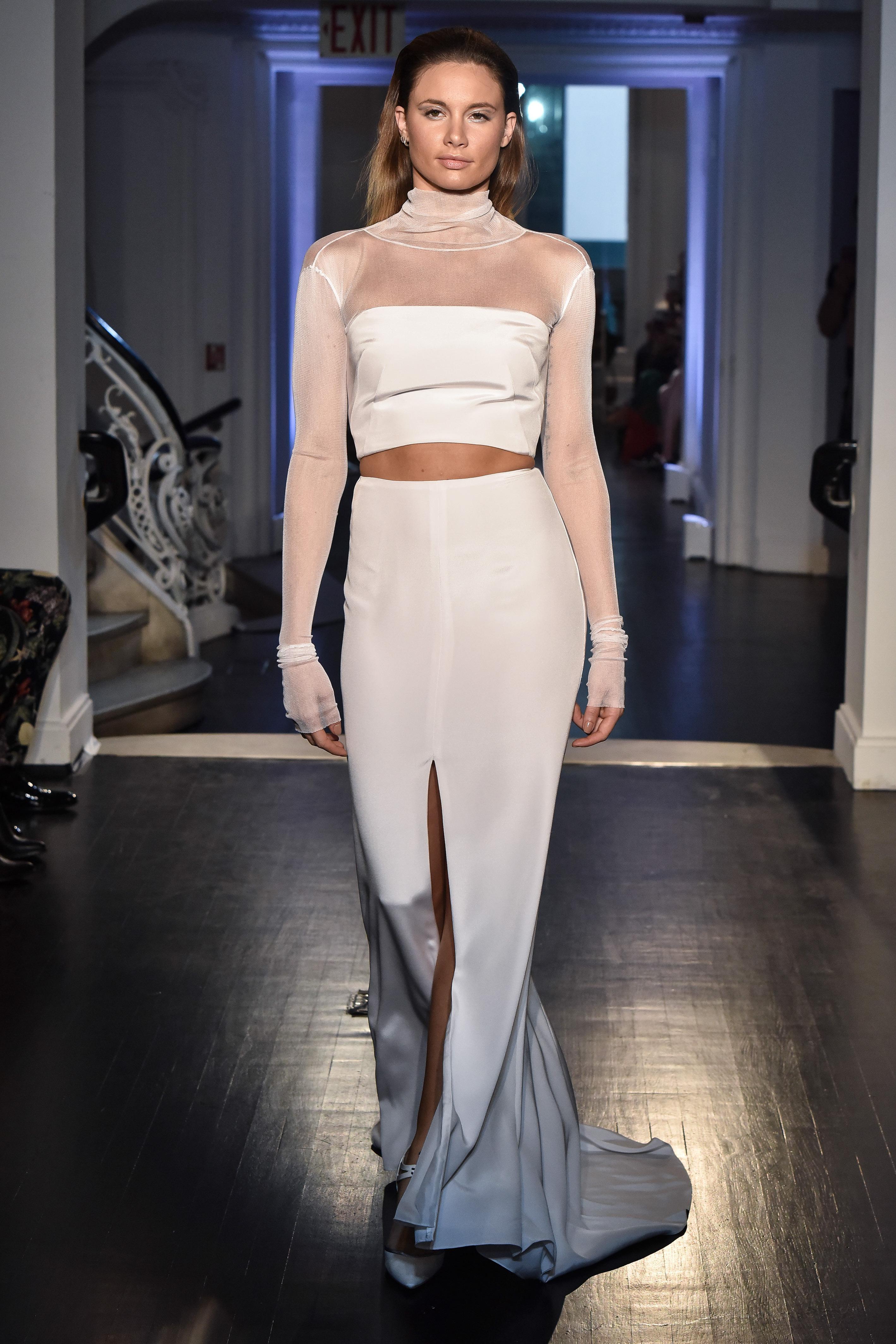 lakum wedding dress fall 2018 separates long sleeve illusion