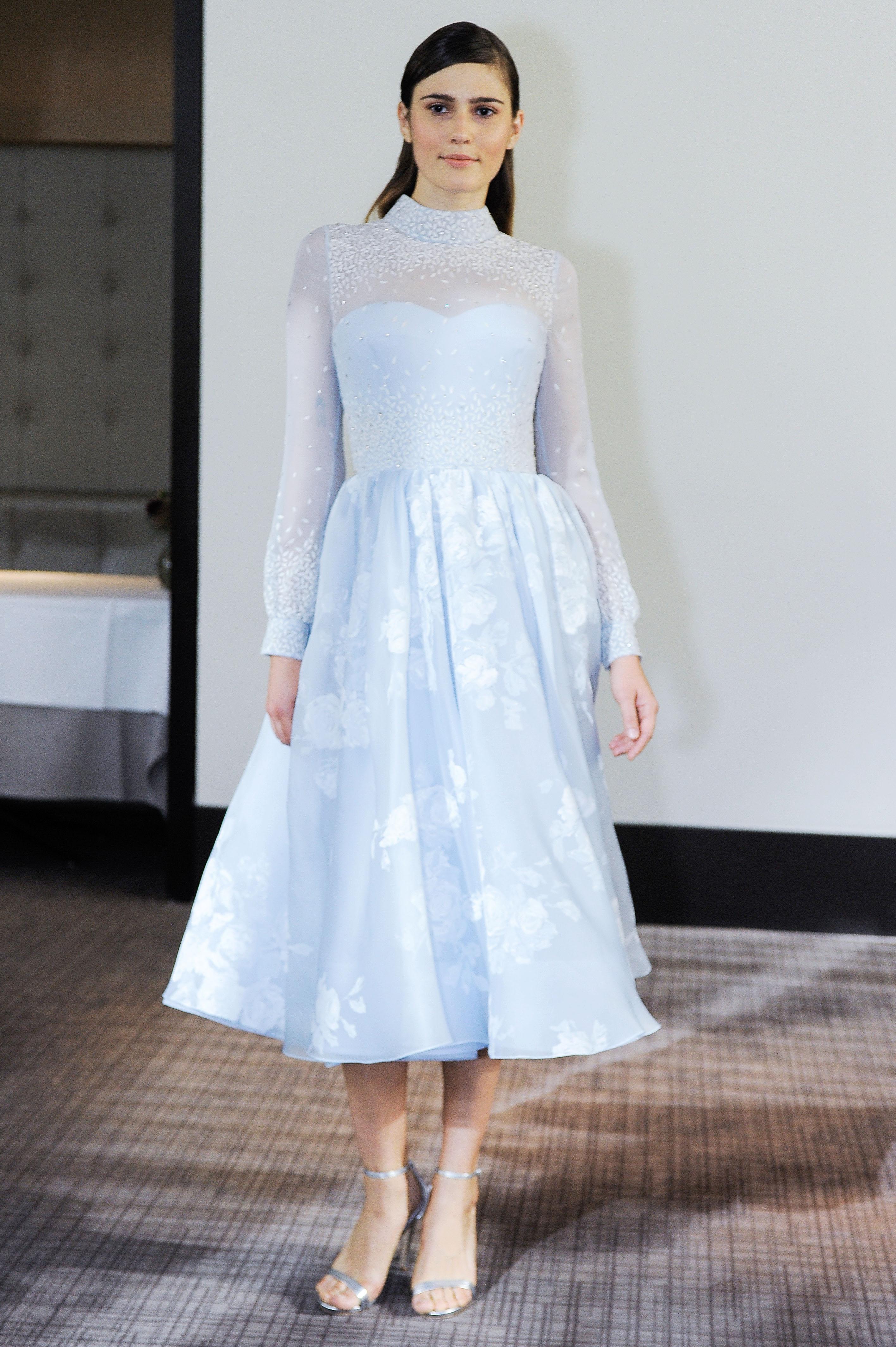 gracy accad blue tea length wedding dress fall 2018