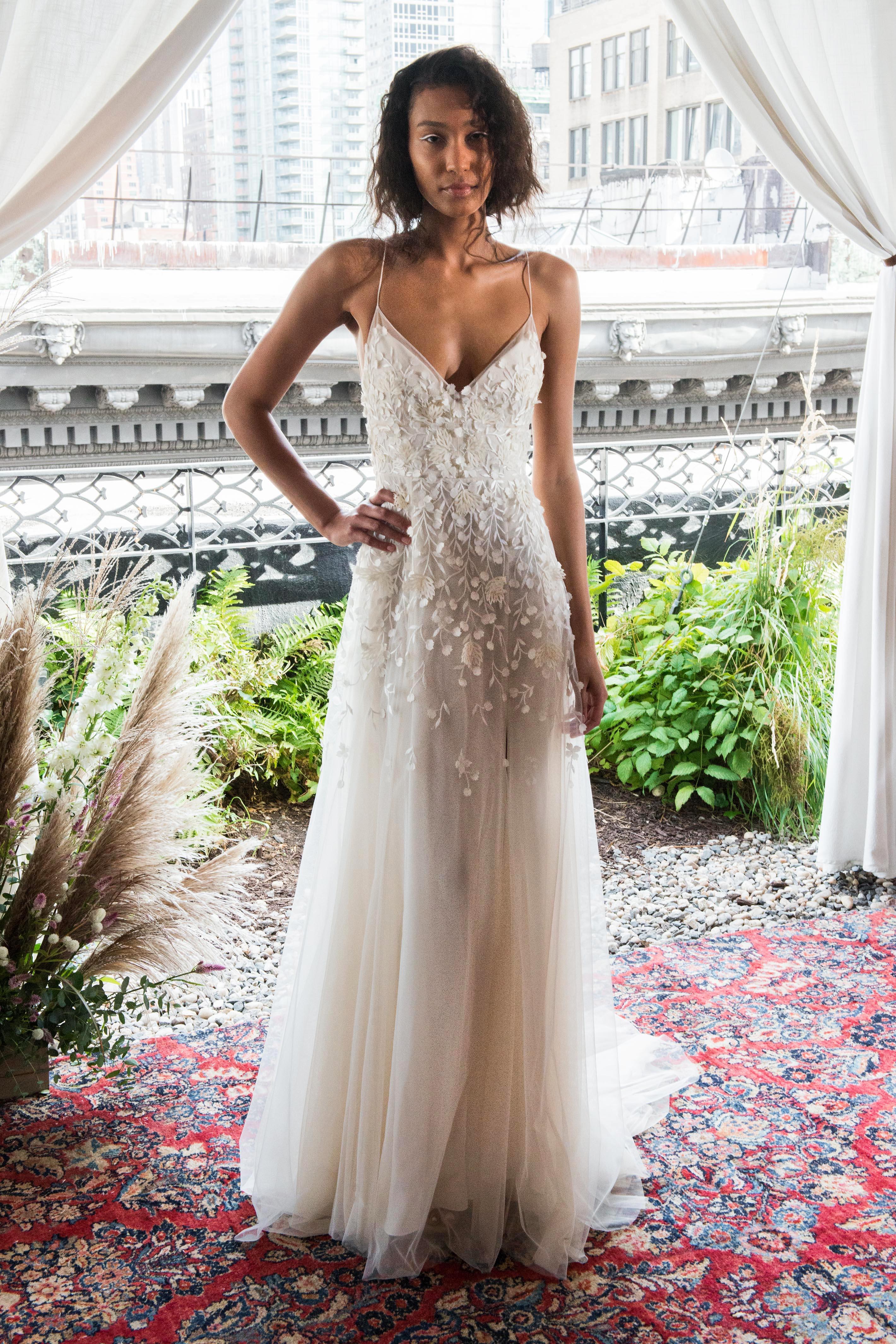 alexandra grecco wedding dress fall 2018 v-neck embellished spaghetti strap tulle