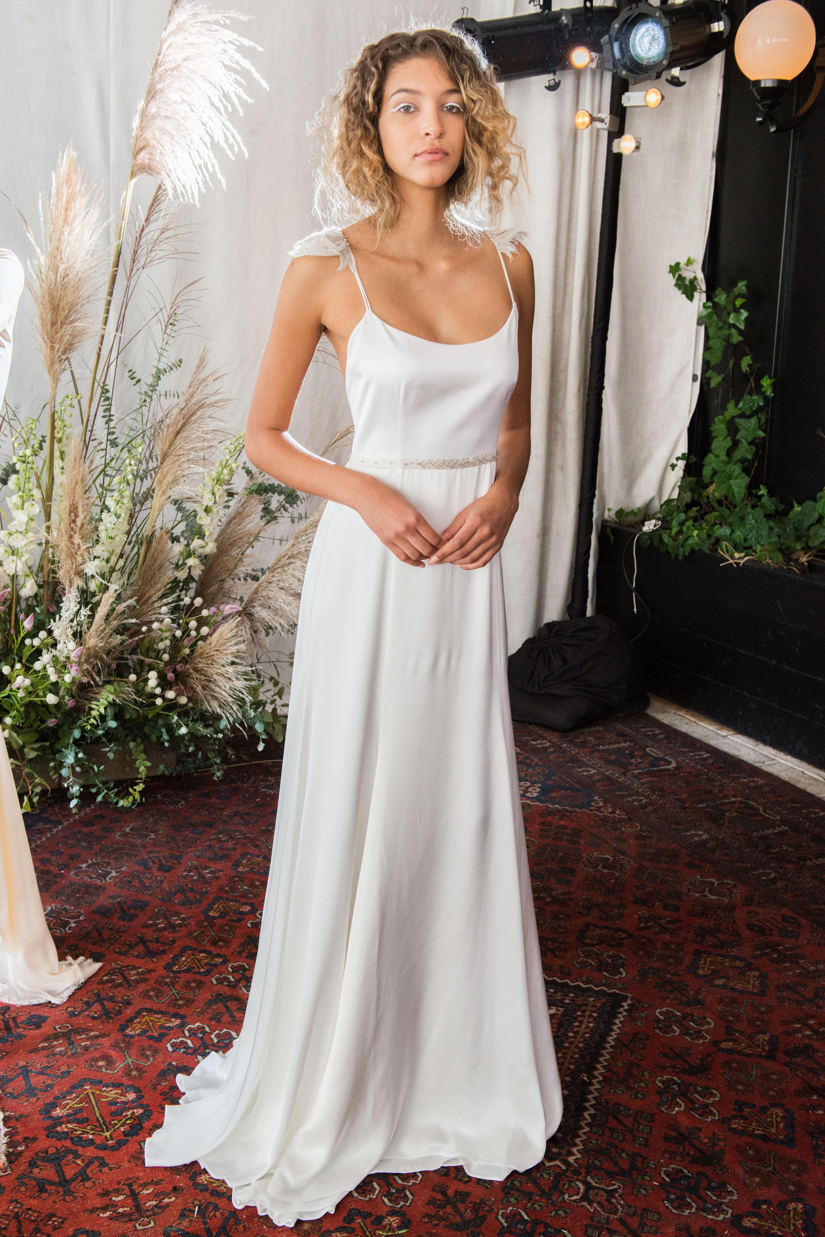 alexandra grecco wedding dress fall 2018 spaghetti straps a-line cap sleeves