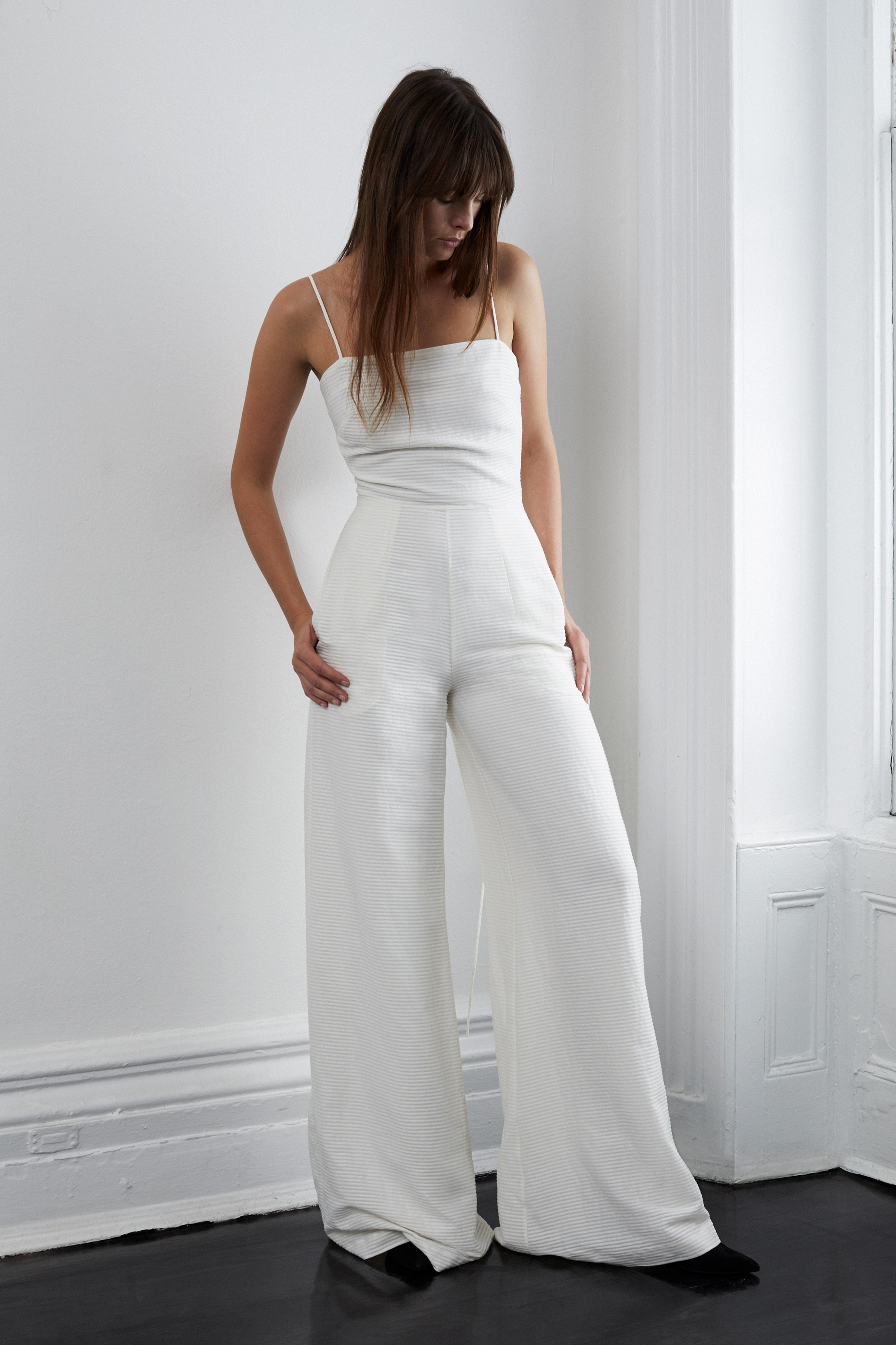 lein fall 2018 wedding dress jump suit spaghetti straps wide leg