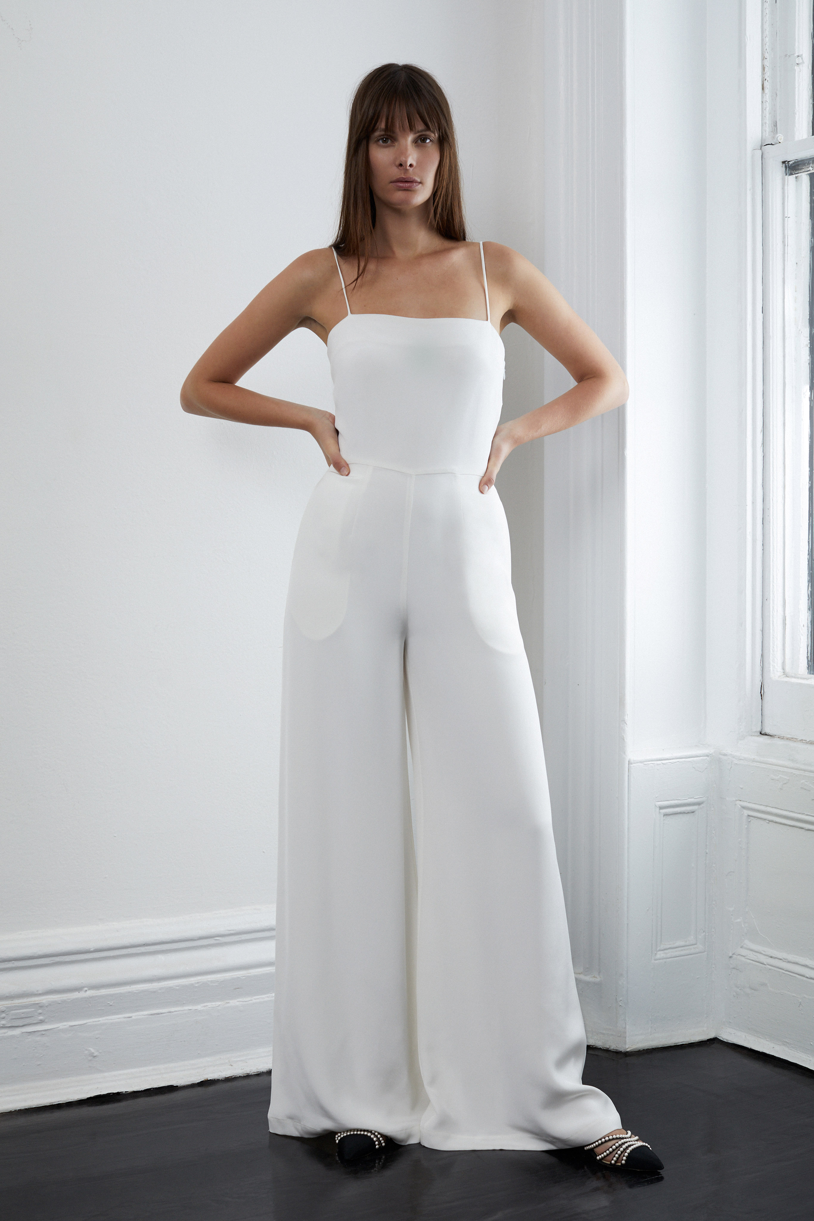 lein fall 2018 wedding dress spaghetti strap jumpsuit wide leg