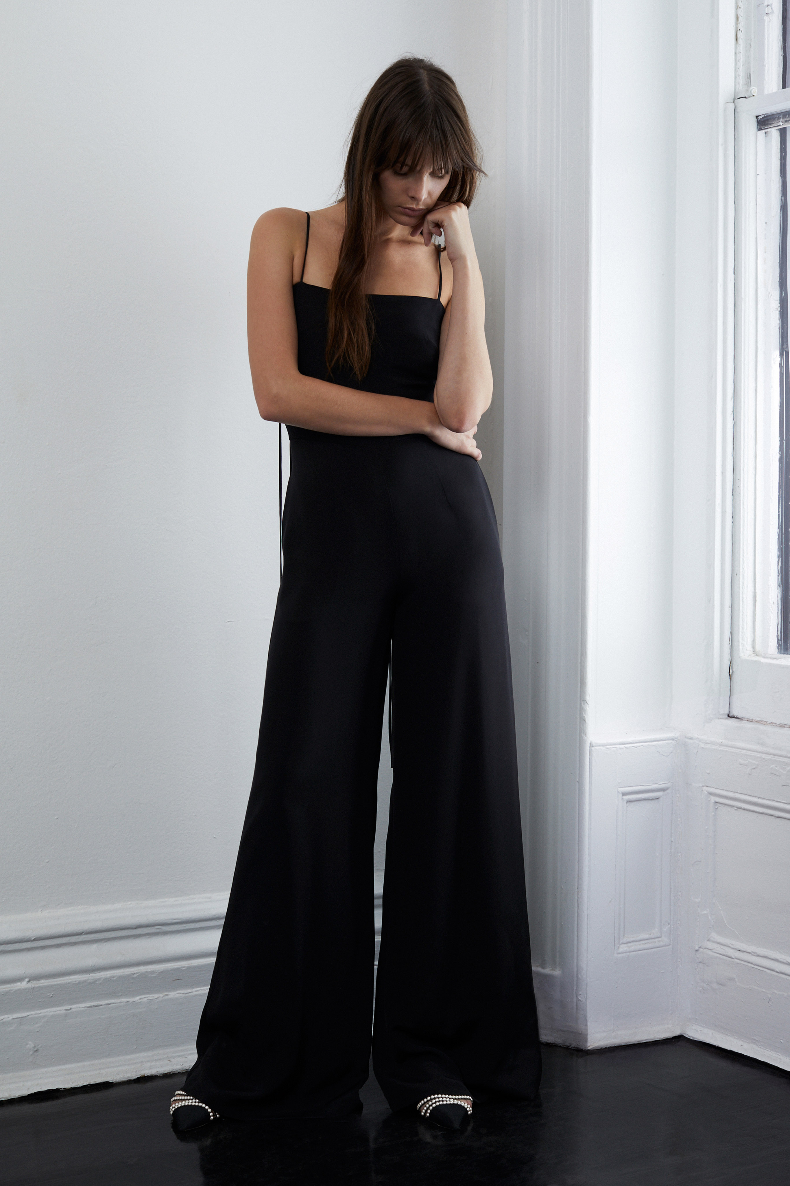 lein fall 2018 wedding dress black spaghetti strap jumpsuit wide leg