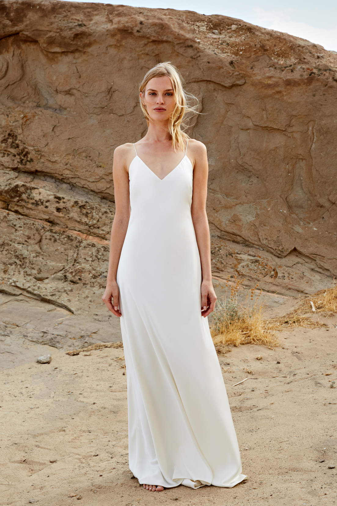 savannah miller fall 2018 v-neck spaghetti strap wedding dress
