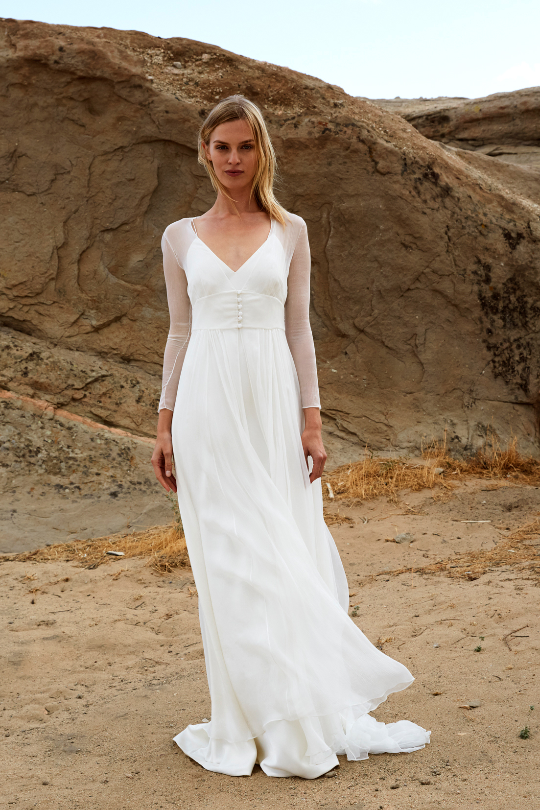 savannah miller fall 2018 spaghetti strap chiffon overlay wedding dress