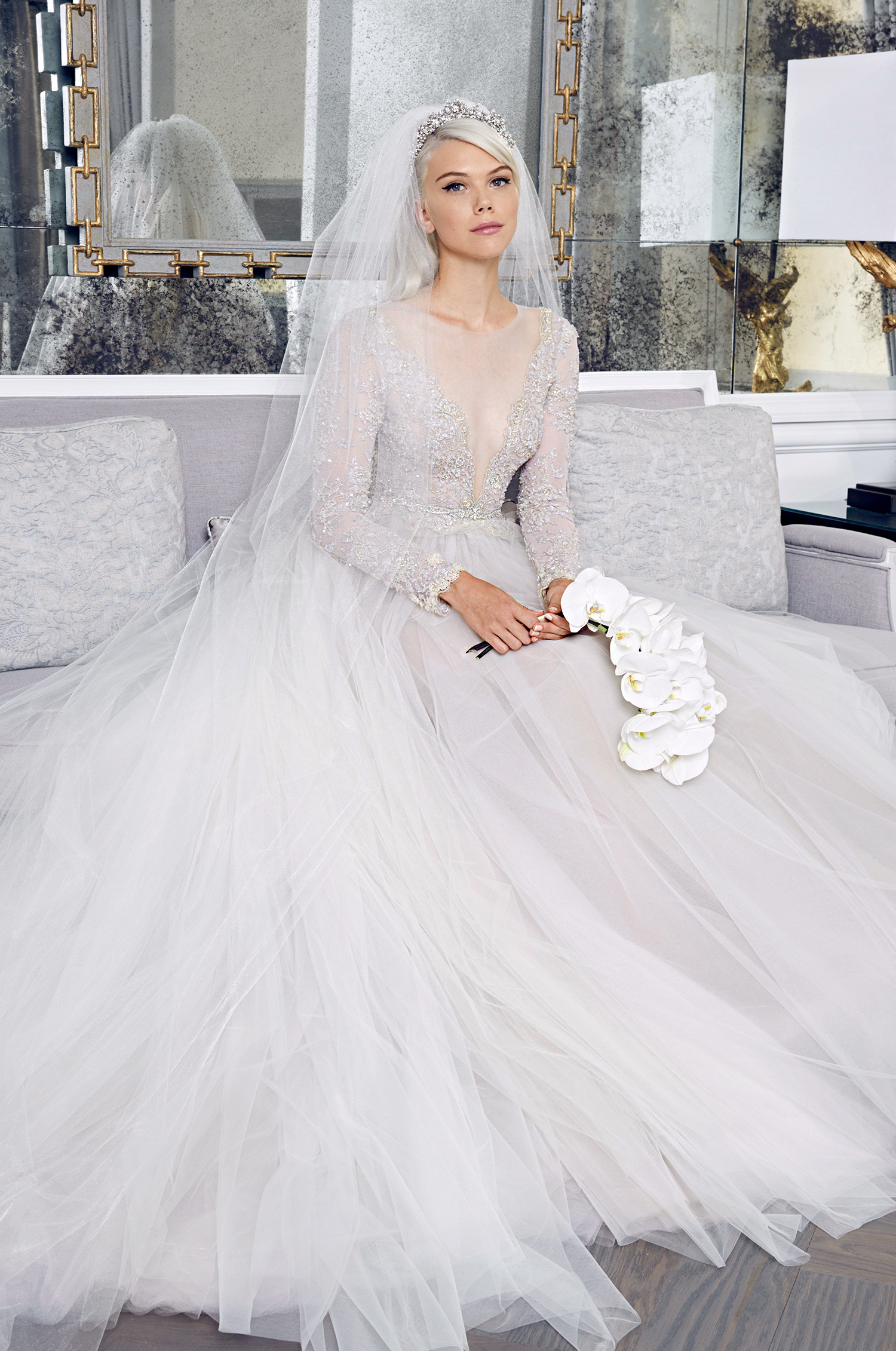 romona keveza fall 2018 long-sleeved ball gown