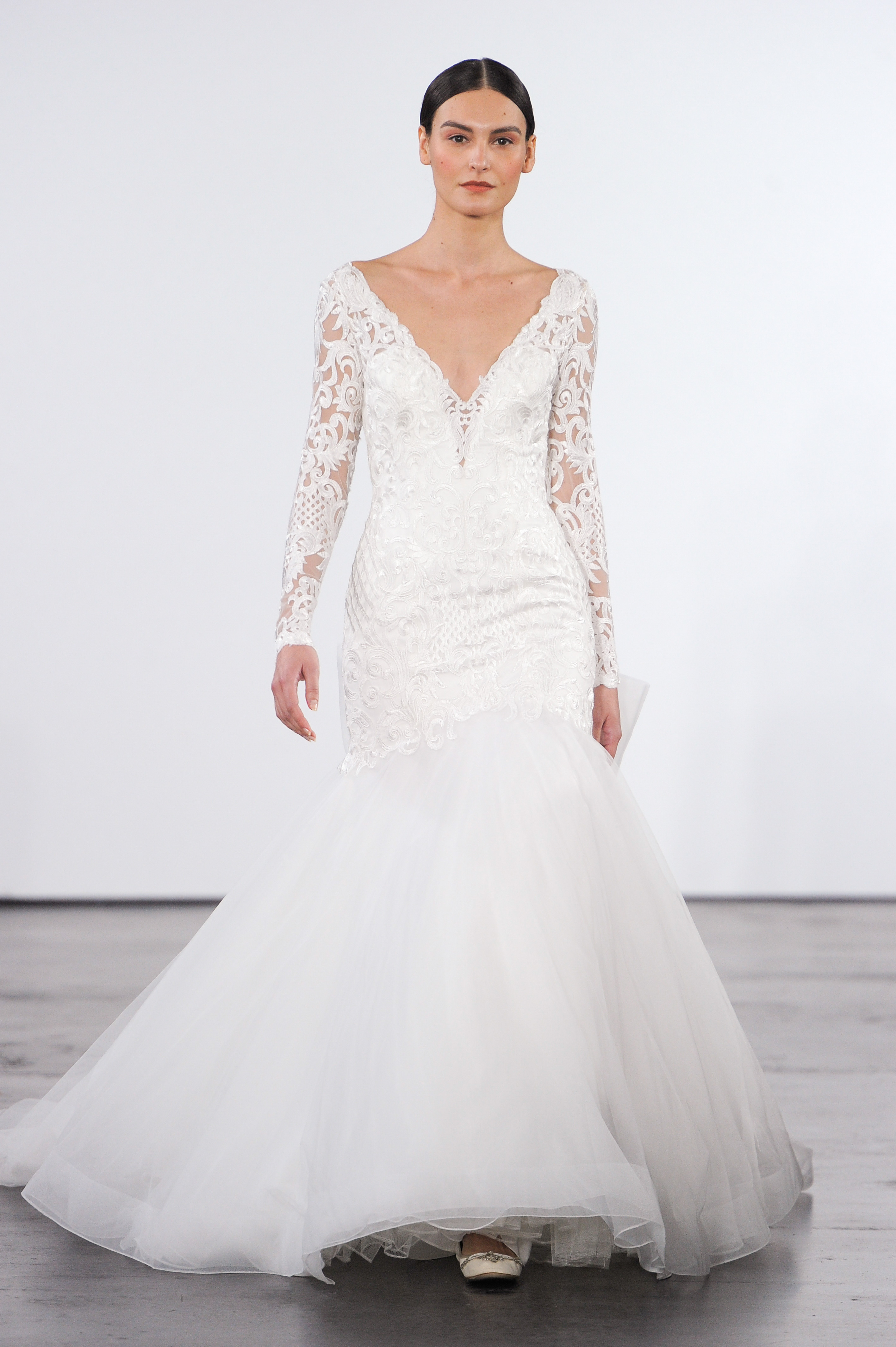 dennis basso wedding dress fall 2018 fit and flare v-neck