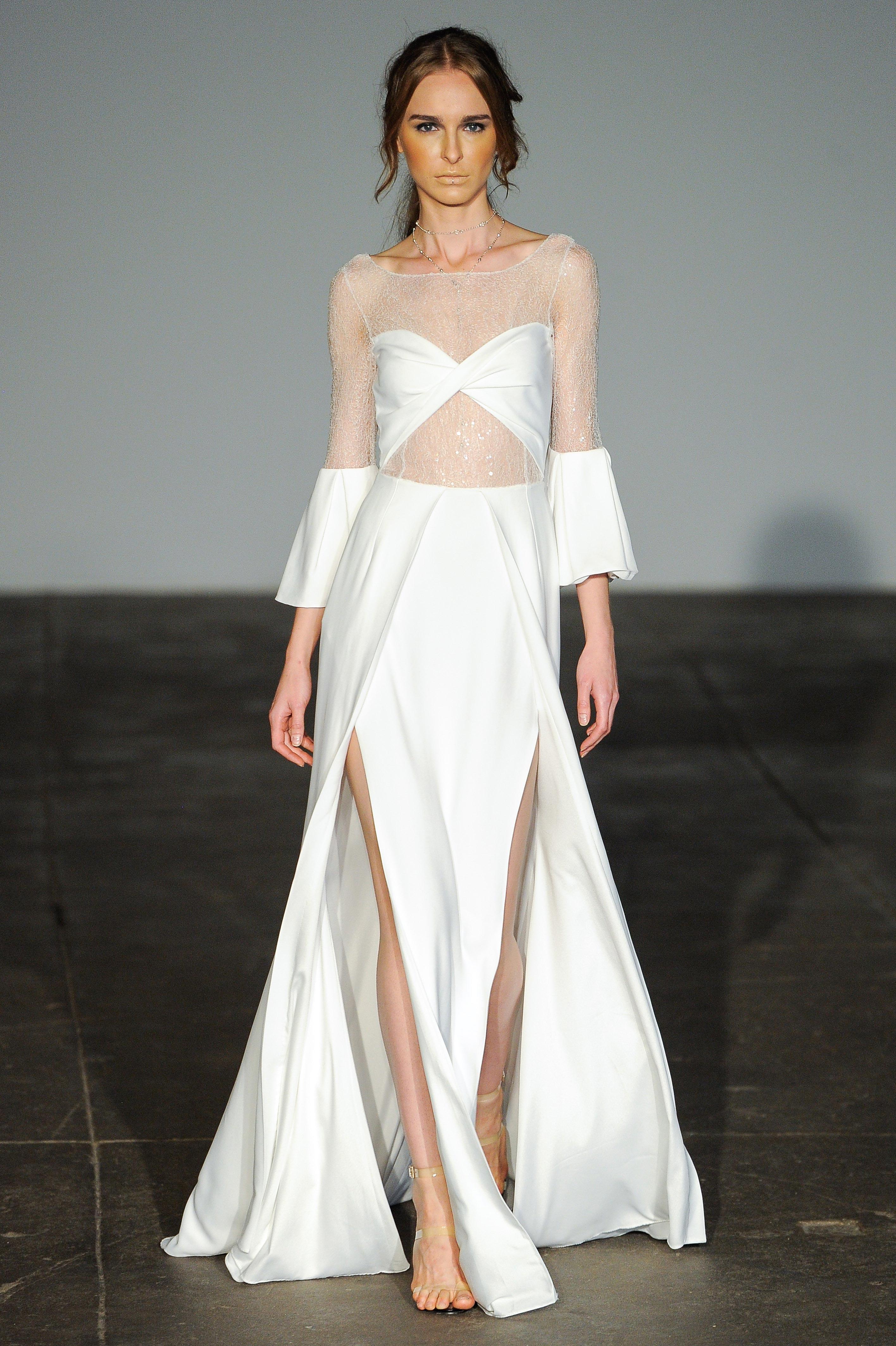 rime arodaky fall 2018 sheer long sleeve  wedding dress