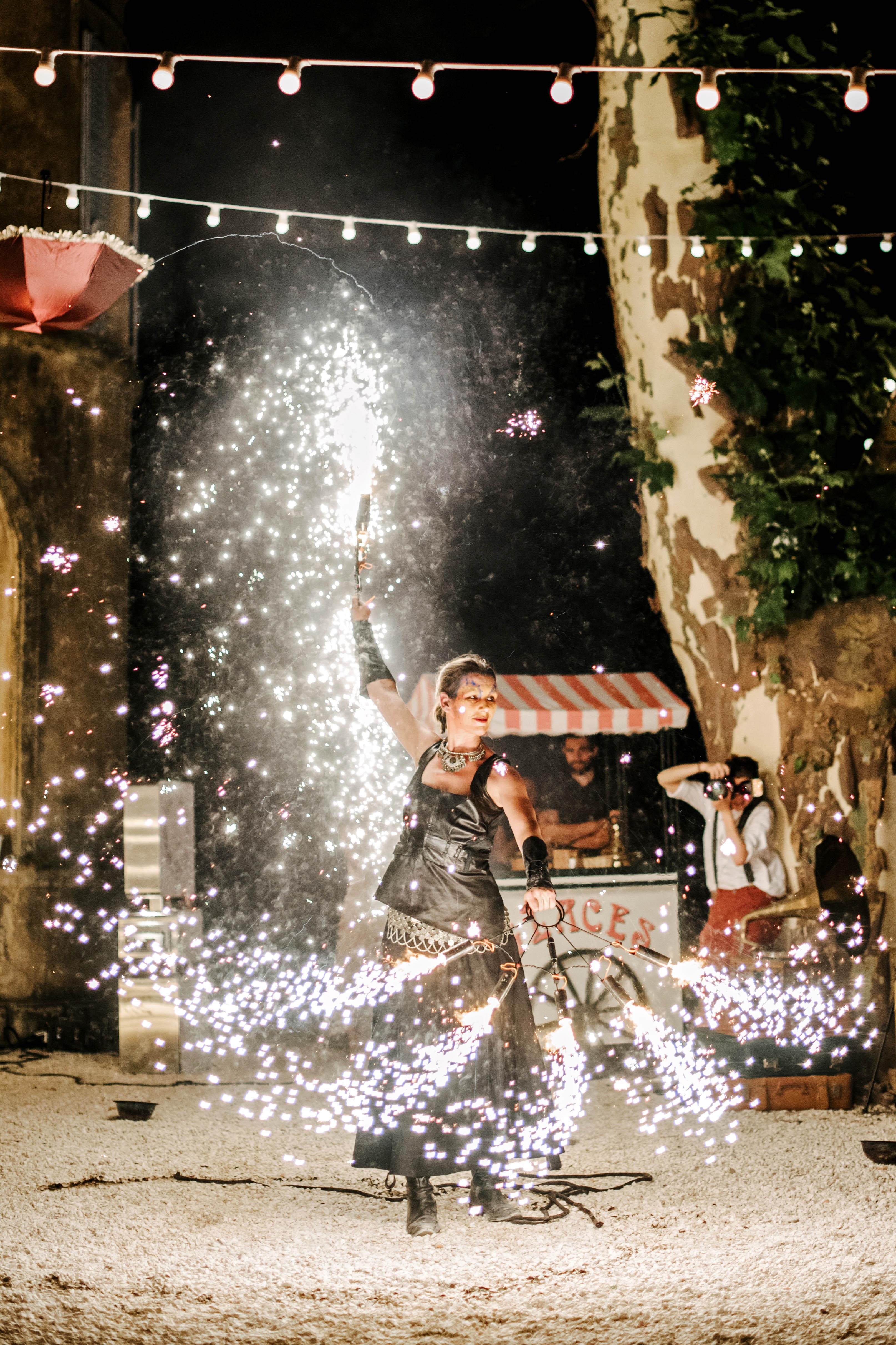lara kjell circus party sparklers performer