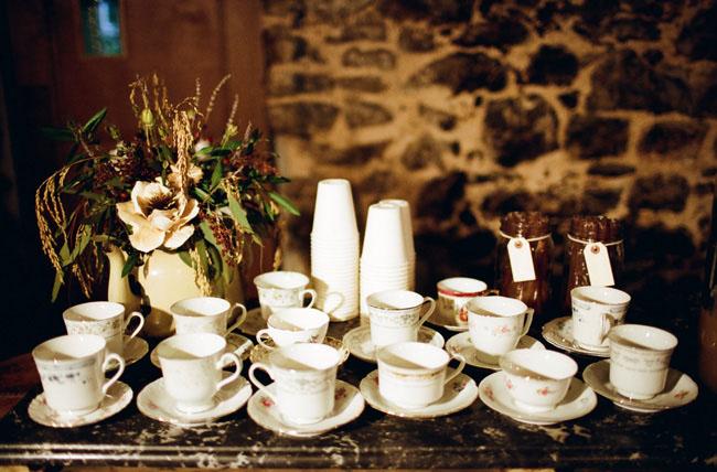 Tea Cup Display, Wedding Hot Drink Stations